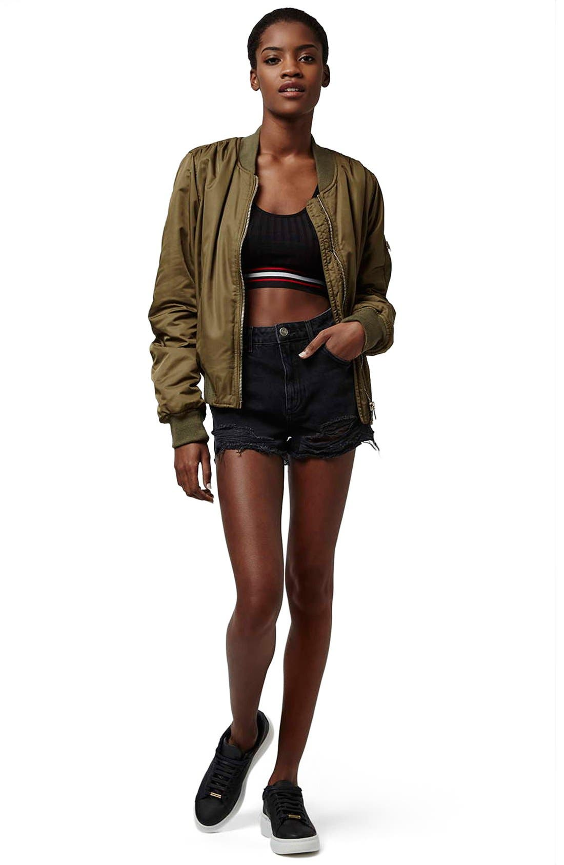 Alternate Image 2  - Topshop Ripped High Rise Denim Shorts (Regular & Petite)