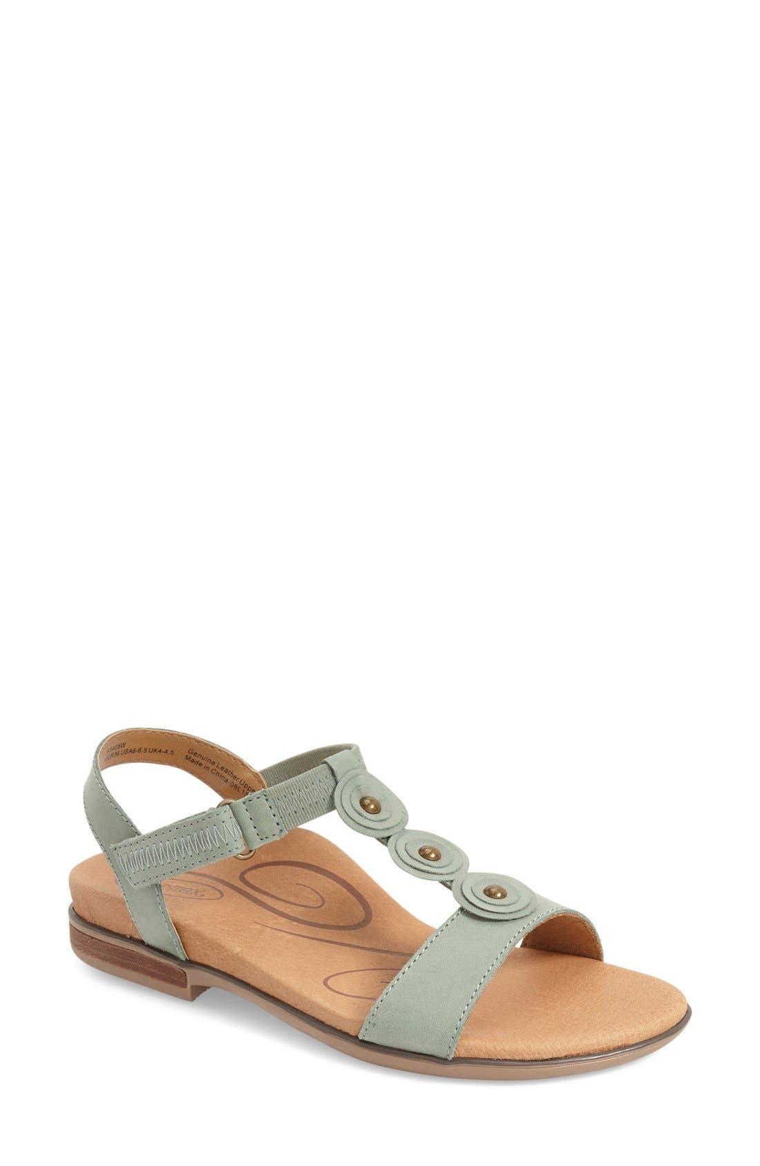 'Sharon' T-Strap Sandal,                         Main,                         color, Mint Leather