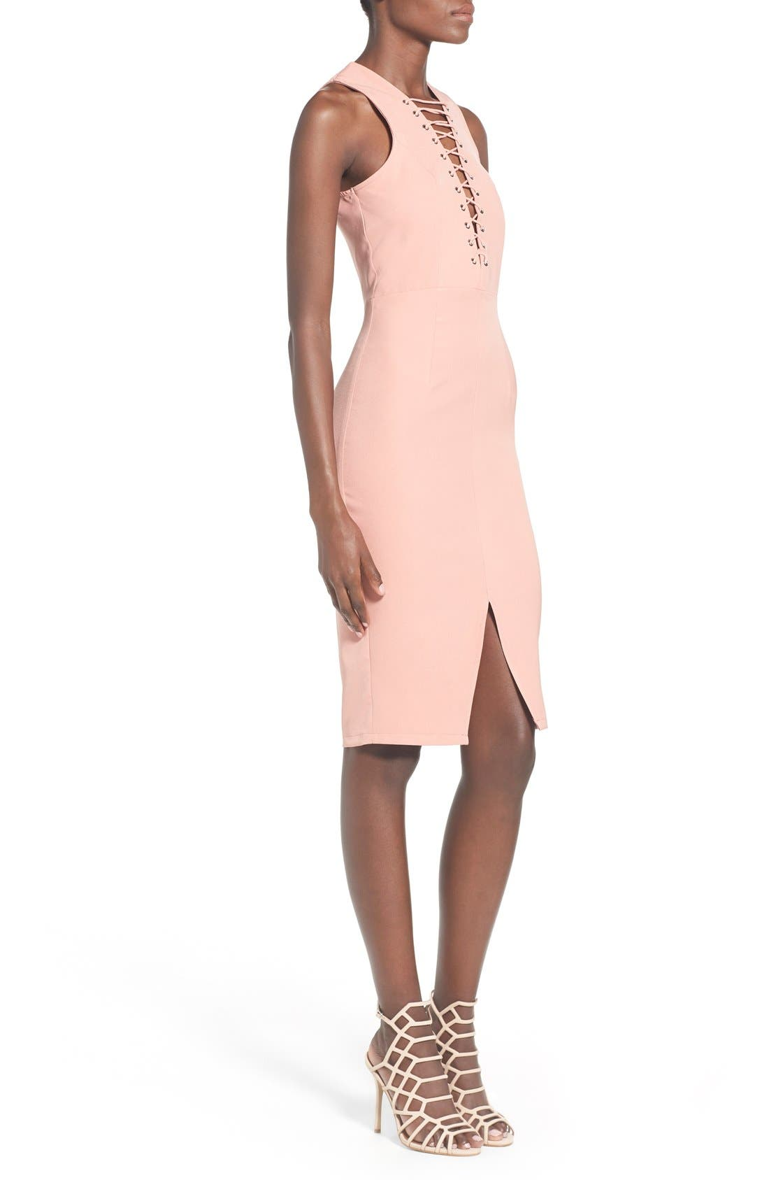 Alternate Image 3  - Missguided Lace-Up Body-Con Dress