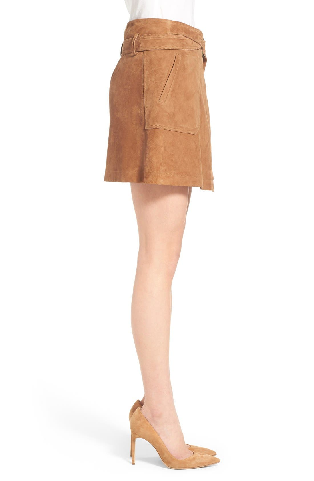 Suede Wrap Miniskirt,                             Alternate thumbnail 4, color,                             Tan Cognac