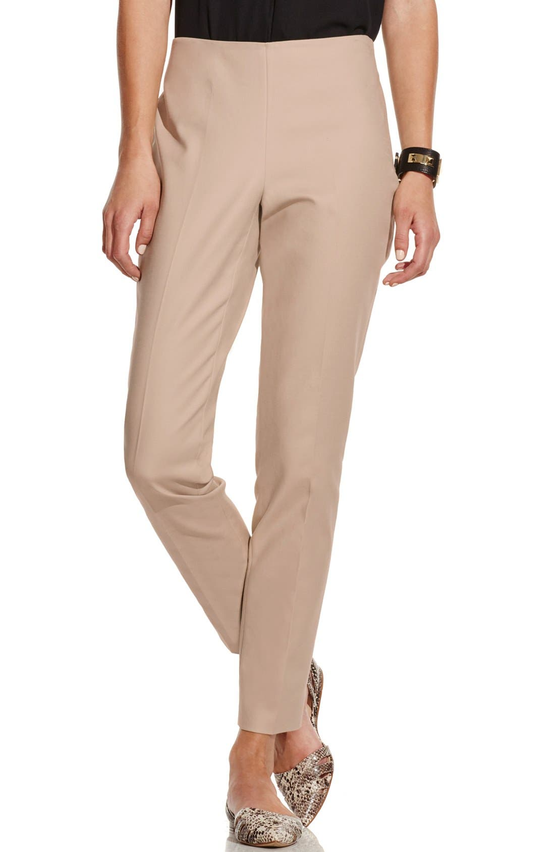 Vince Camuto Side Zip Double Weave Stretch Cotton Pants (Regular & Petite)