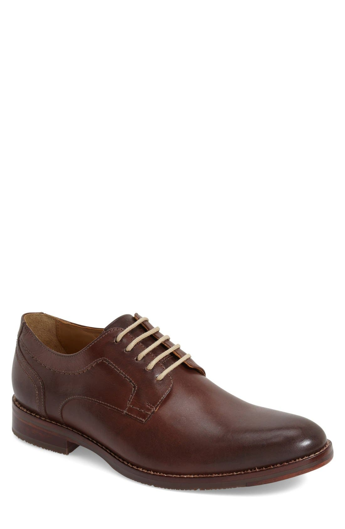 'Garner' Plain Toe Derby,                         Main,                         color, Mahogany Calfskin