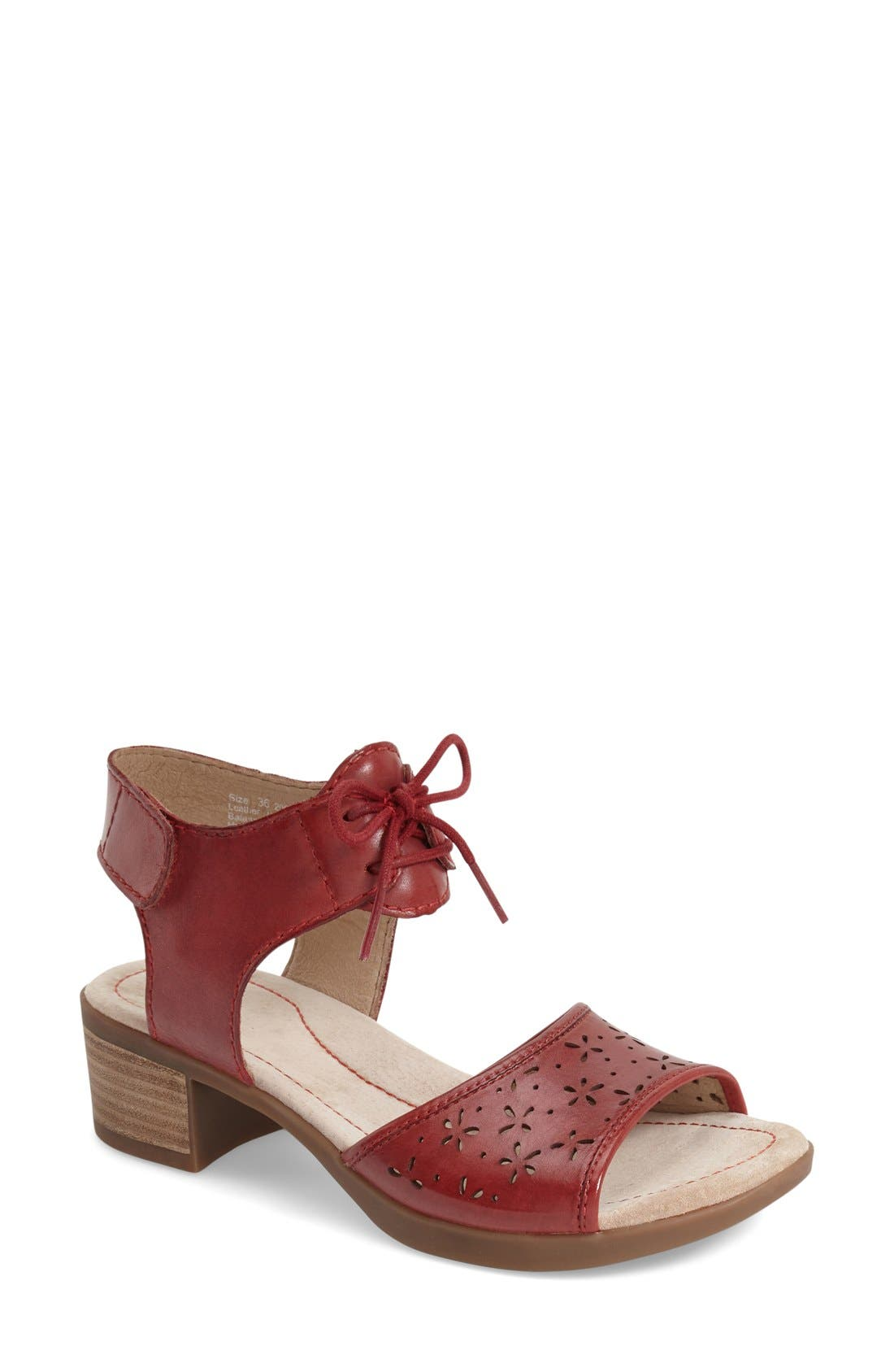 'Liz' Lace-Up Block Heel Sandal,                             Main thumbnail 1, color,                             Red Antiqued Leather