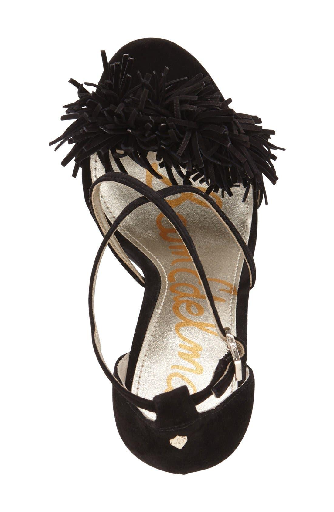 'Aisha' Fringe Sandal,                             Alternate thumbnail 3, color,                             Black Leather