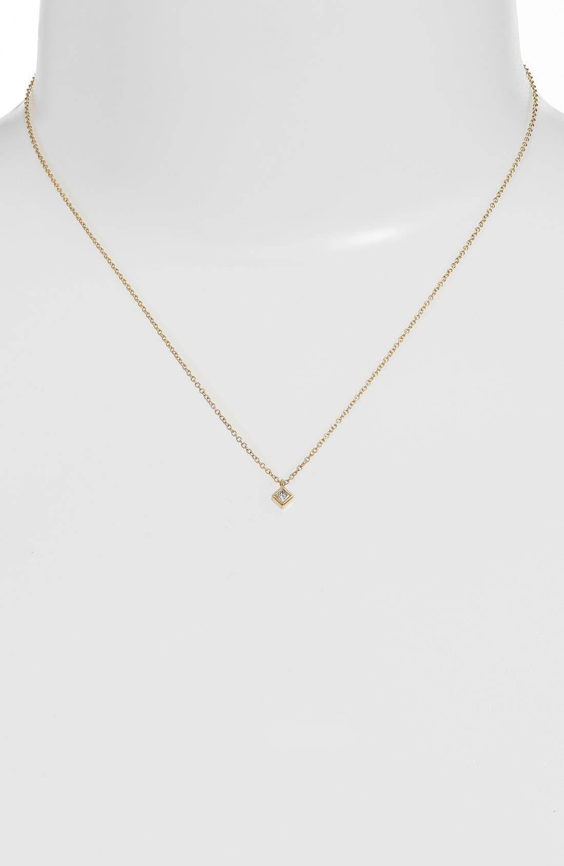 Alternate Image 2  - Zoë Chicco Princess Diamond Pendant Necklace