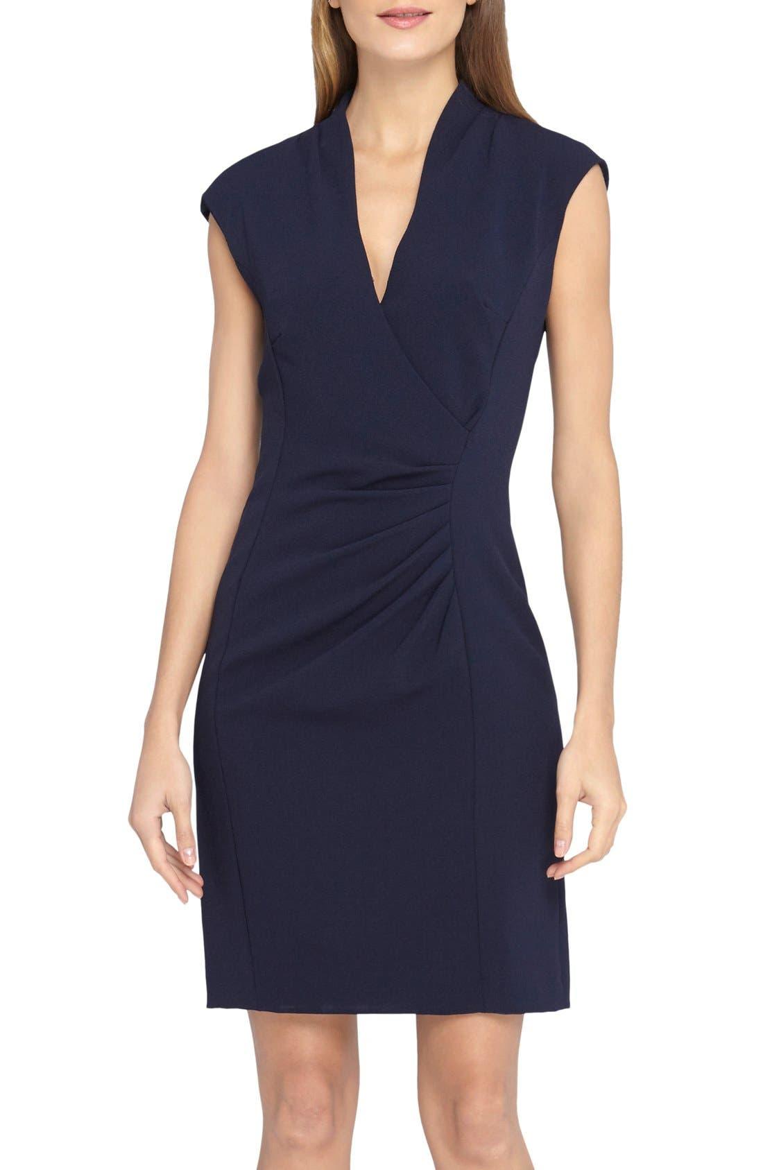 Alternate Image 1 Selected - Tahari V-Neck Crepe Sheath Dress (Regular & Petite)