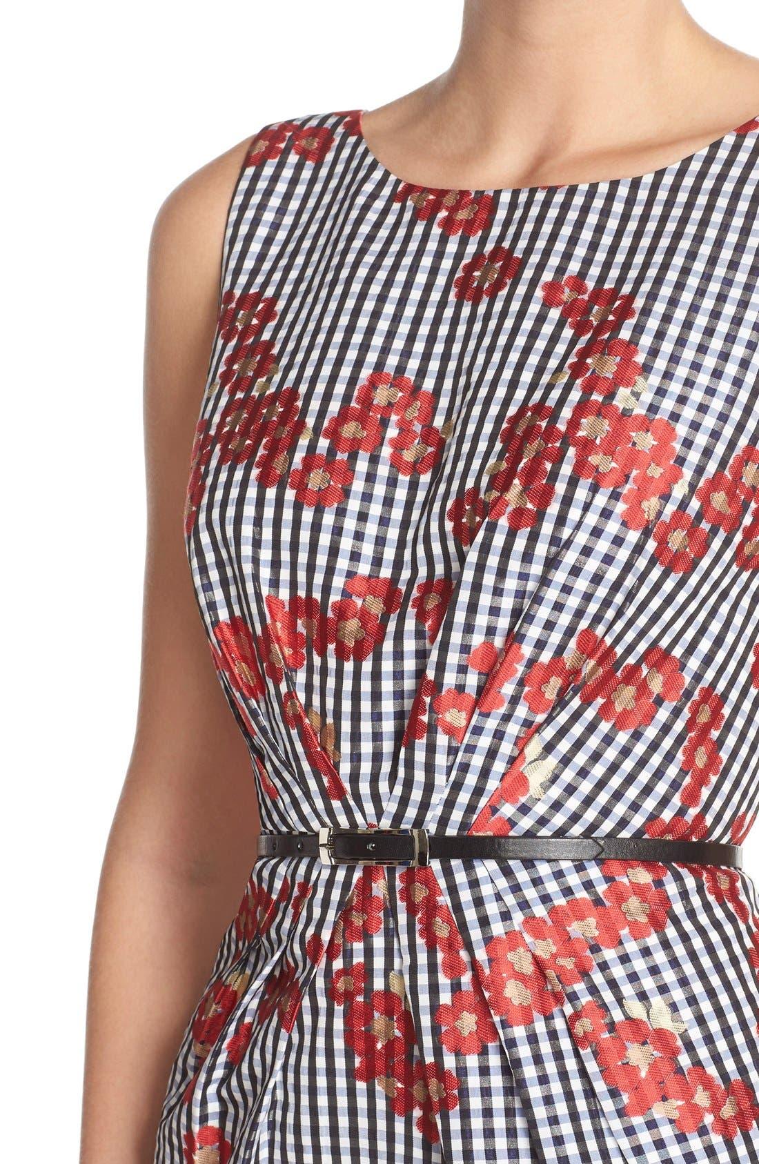 Alternate Image 4  - Adrianna Papell Floral & Gingham Jacquard Sheath Dress (Regular & Petite)