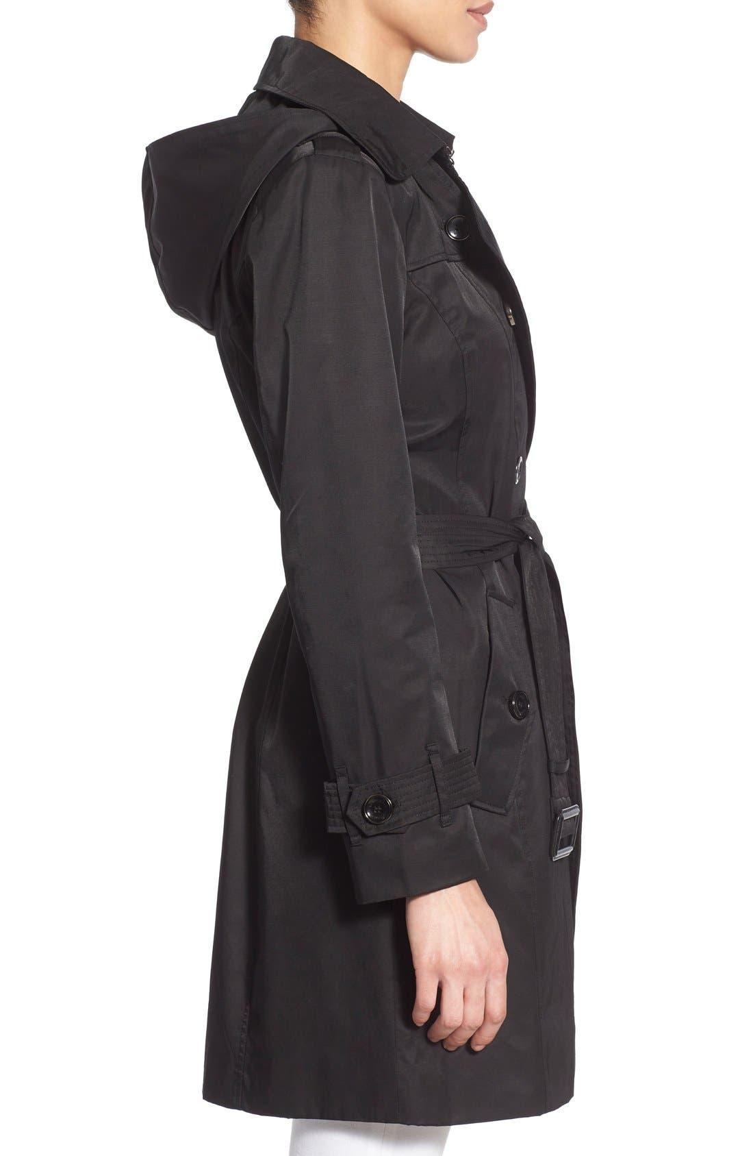 Alternate Image 3  - London Fog Hooded Double Breasted Trench Coat (Regular & Petite)