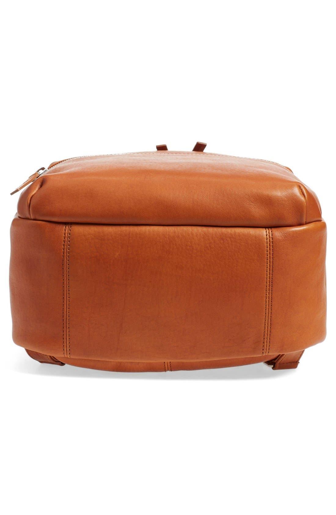 Runwell Leather Laptop Backpack,                             Alternate thumbnail 6, color,                             Bourbon