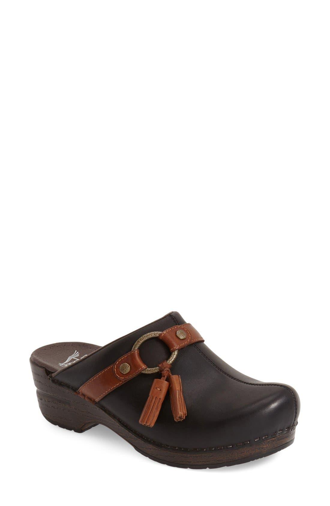 'Shandi' Clog,                         Main,                         color, Black Leather