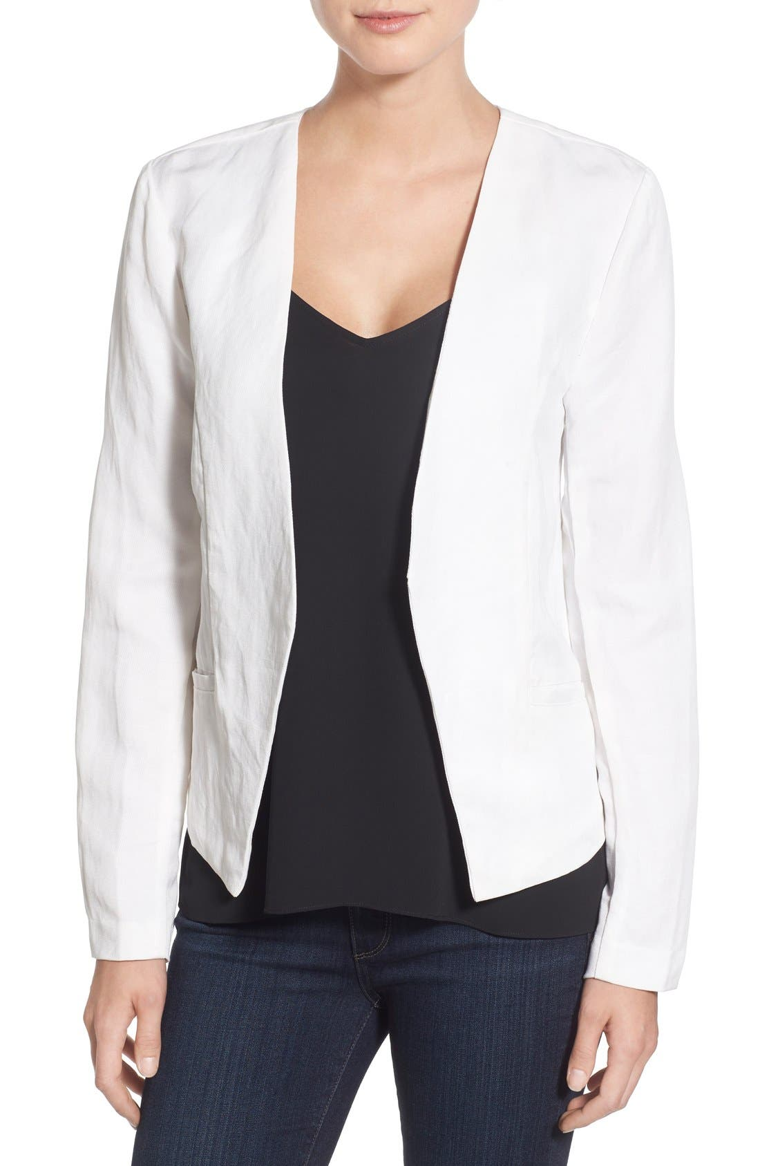 Alternate Image 1 Selected - cupcakes and cashmere 'Lillian' Open Front Linen Blend Blazer