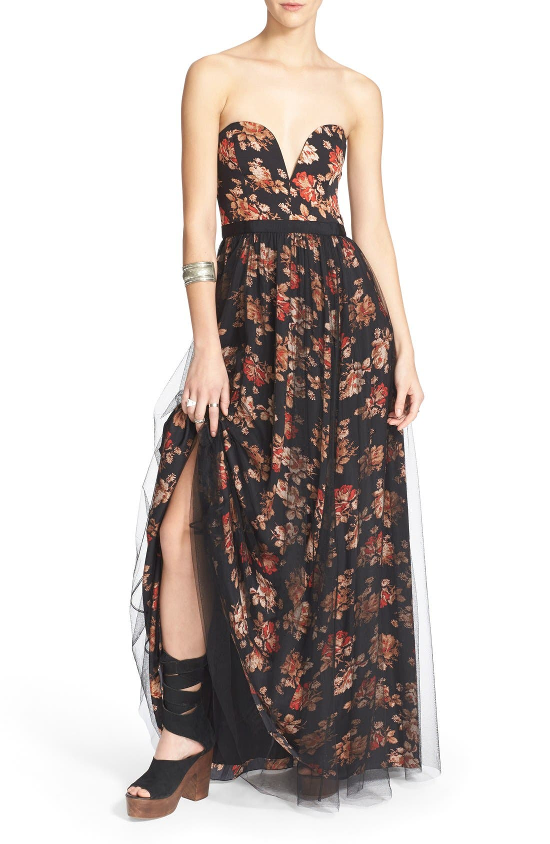 Alternate Image 4  - Free People Floral Print Plunge Gown