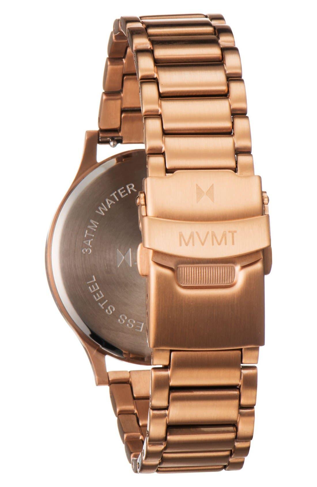 Bracelet Watch, 40mm,                             Alternate thumbnail 2, color,                             Rose Gold/ Black