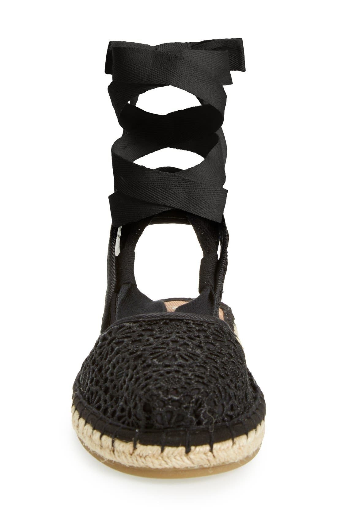 'Bella' Espadrille Sandal,                             Alternate thumbnail 3, color,                             Black Crochet