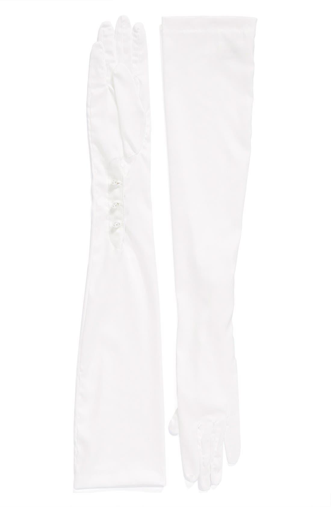 Debutante Opera Length Mousquetaire Gloves,                         Main,                         color, Diamond White
