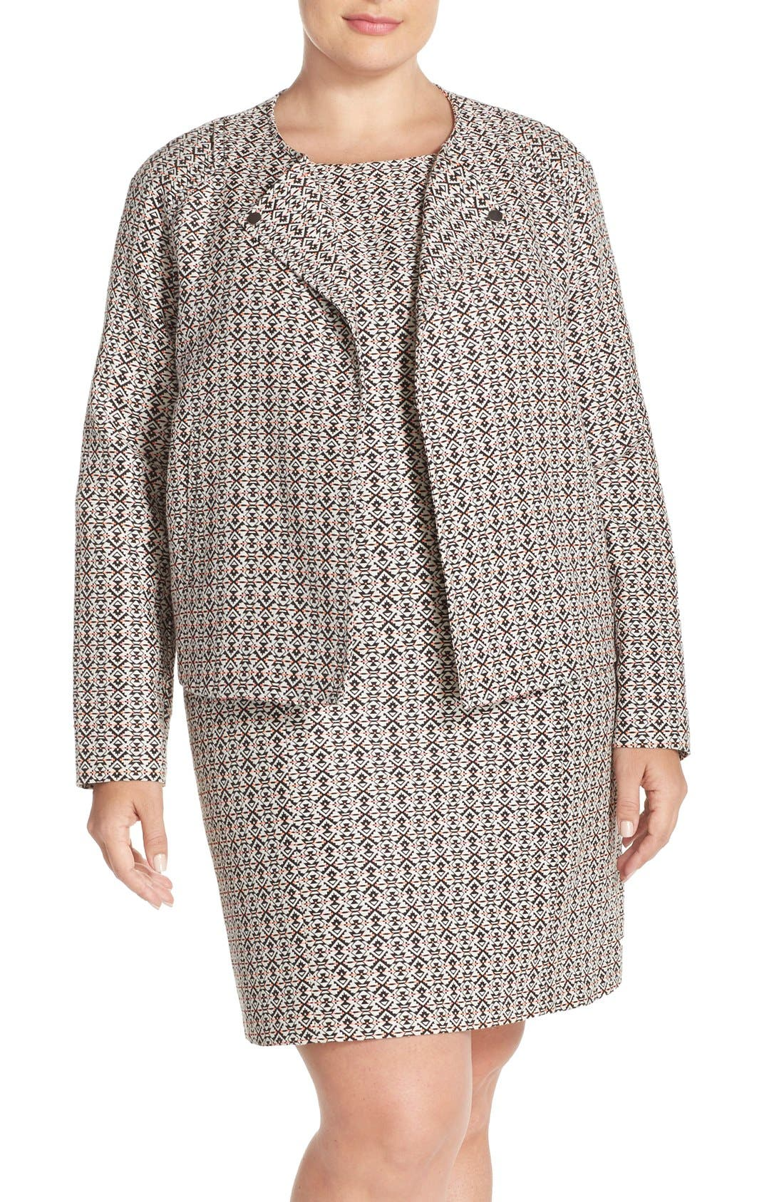 Main Image - Tart 'Aviana' Print Collarless Jacket (Plus Size)