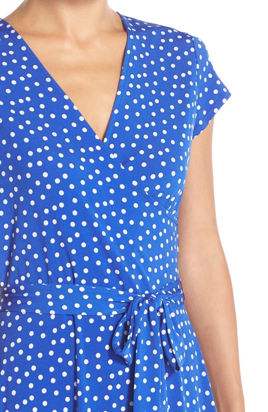 Alternate Image 5  - Leota 'Perfect' Faux Wrap Polka Dot Jersey Dress
