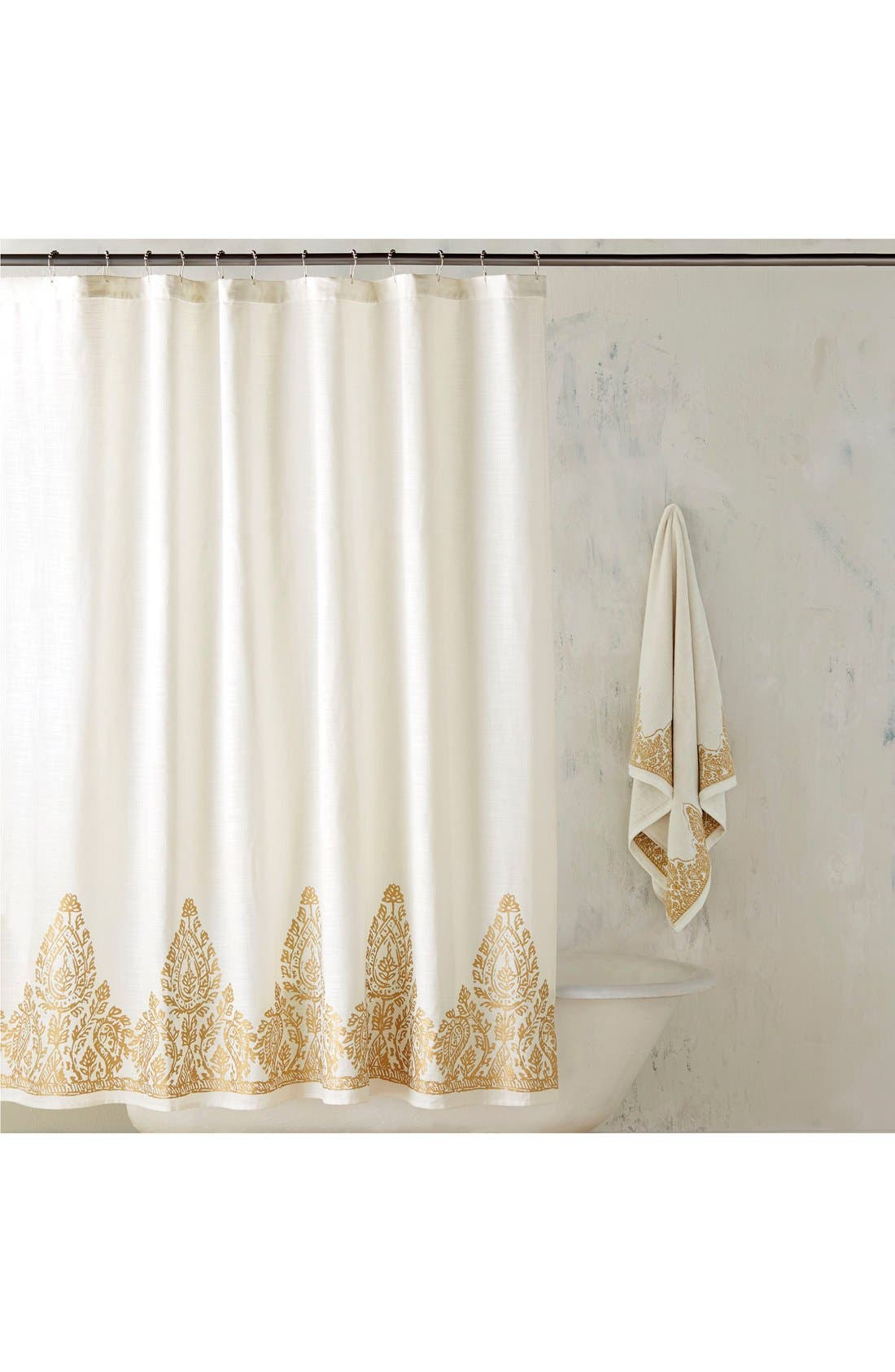 'Nadir' Shower Curtain,                         Main,                         color, White/ Gold