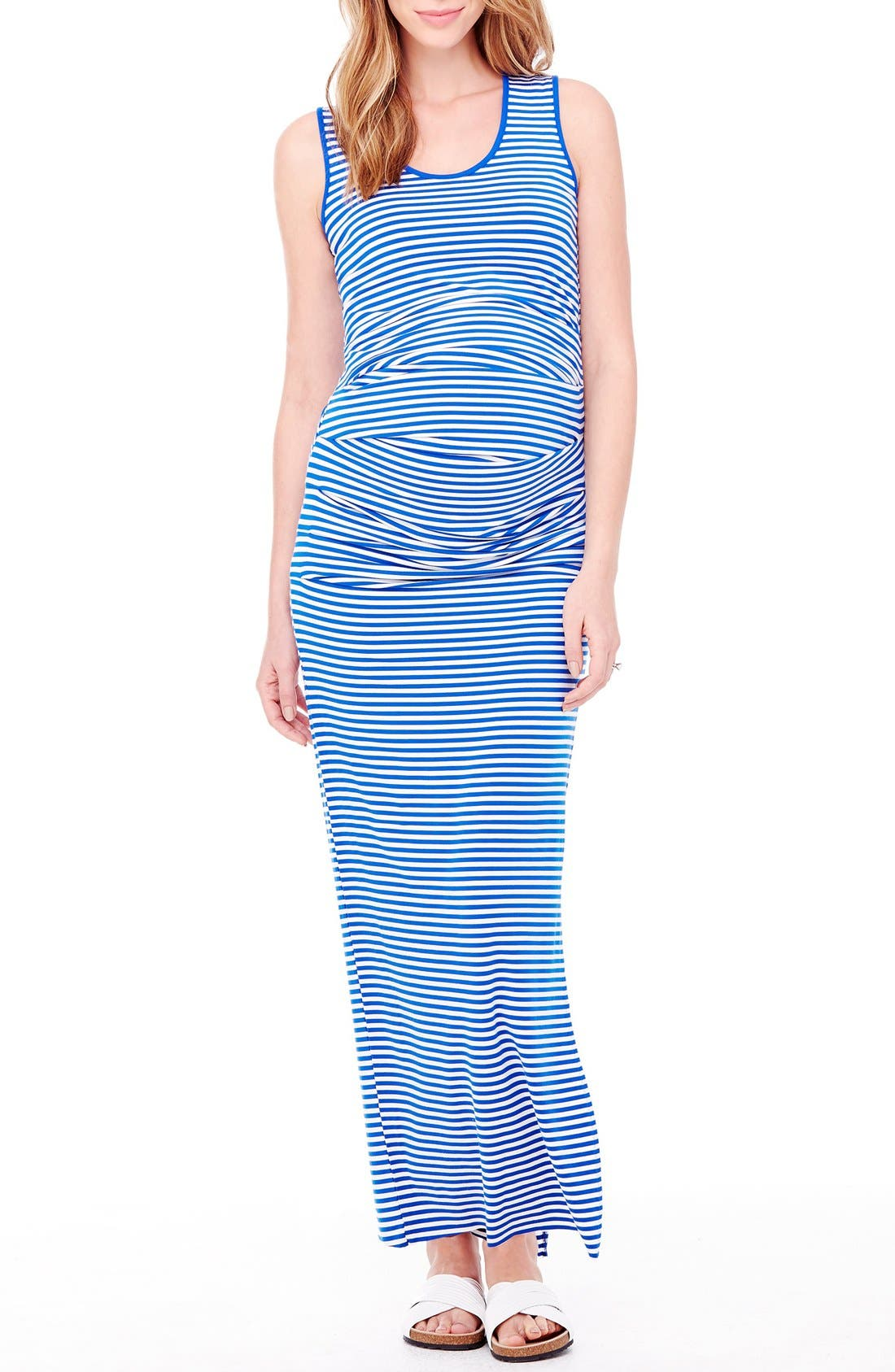 Striped Tank Maternity Maxi Dress,                         Main,                         color, Cobalt/ White Stripe