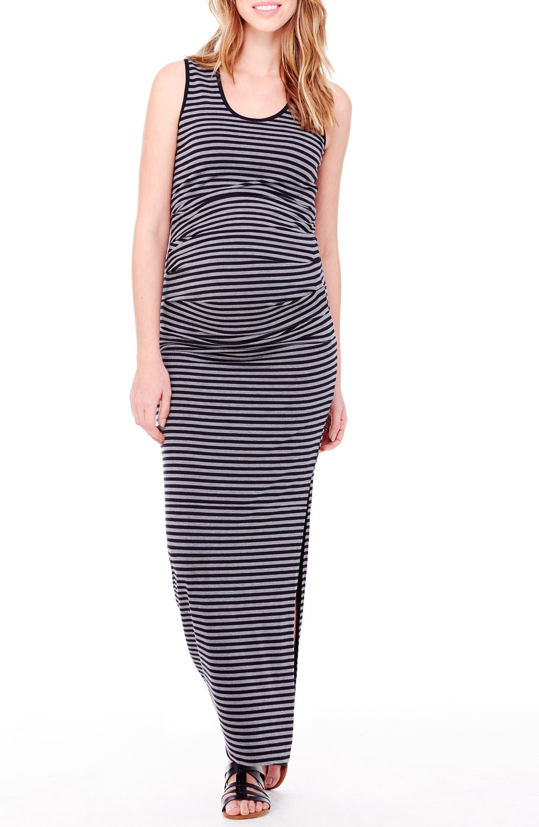 Striped Tank Maternity Maxi Dress,                         Main,                         color, Black/ Heather Grey Stripe