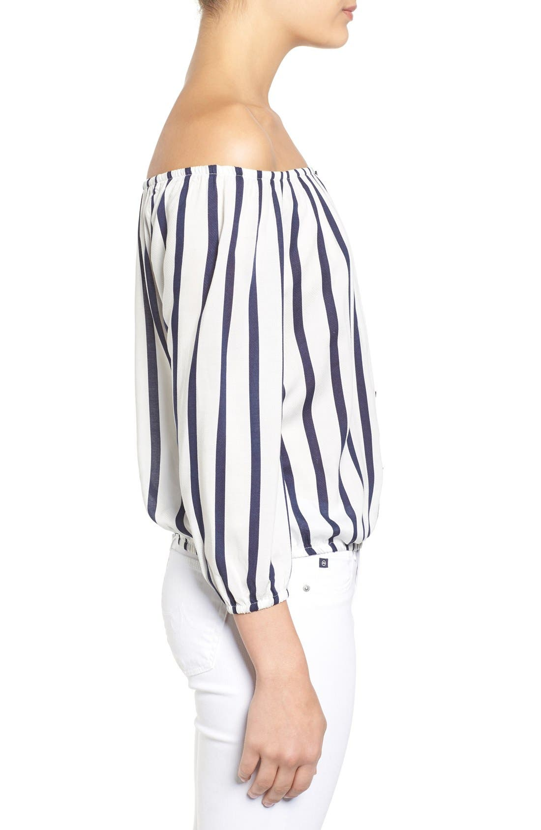 Alternate Image 4  - cupcakes and cashmere 'Eleni' Stripe Off the Shoulder Top