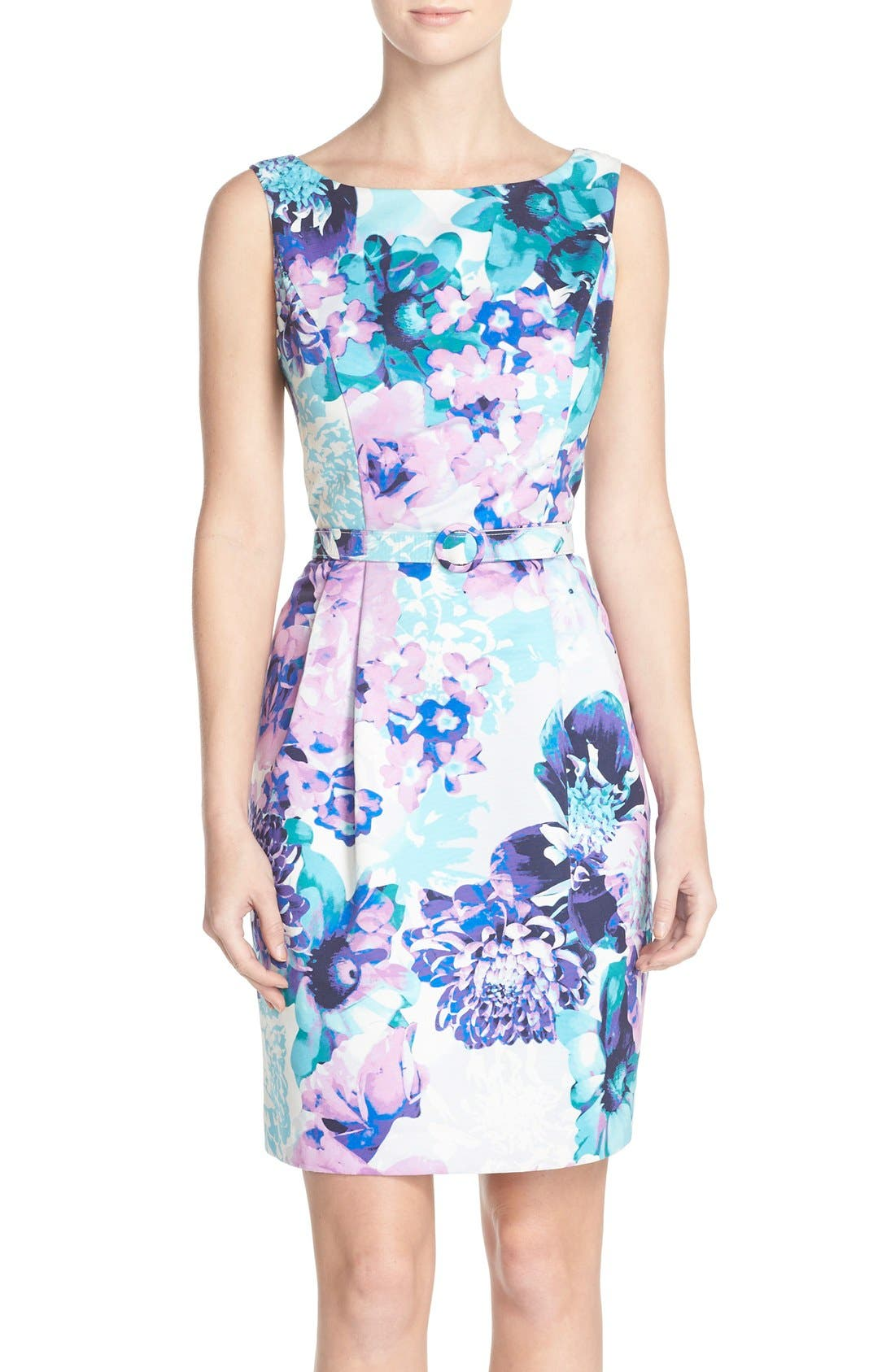 Main Image - Eliza J Belted Floral Faille Sheath Dress (Regular & Petite)