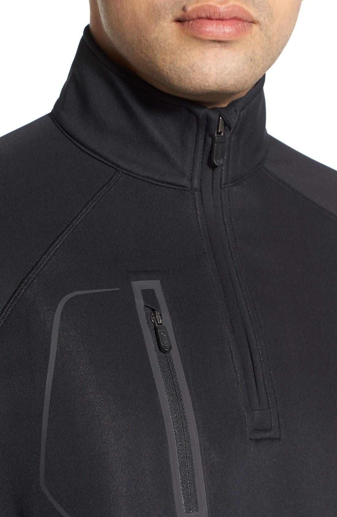 XH2O Crawford Stretch Quarter Zip Golf Pullover,                             Alternate thumbnail 4, color,                             Black