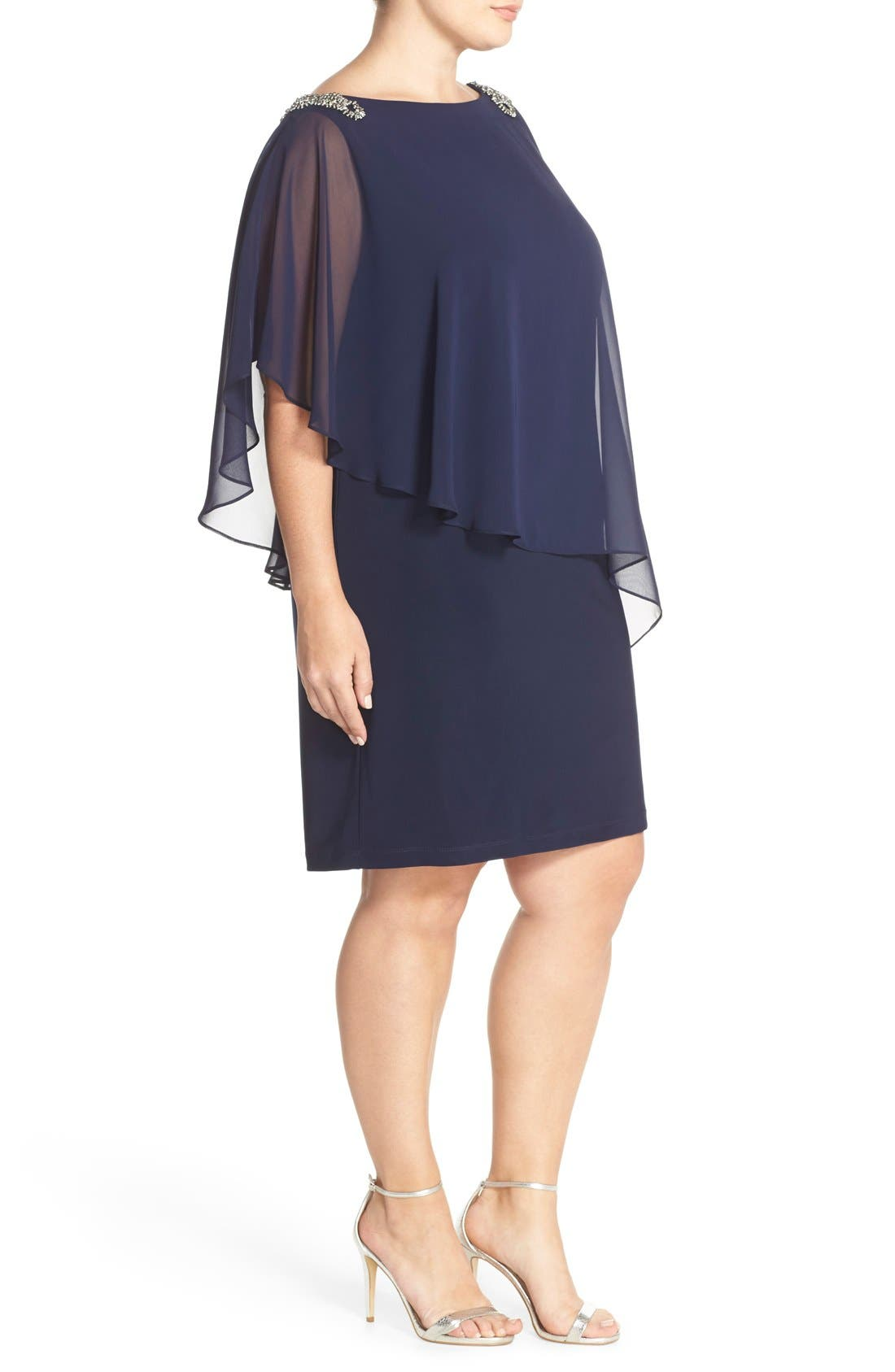 Embellished Chiffon Overlay Jersey Dress,                             Alternate thumbnail 3, color,                             Lovely Navy