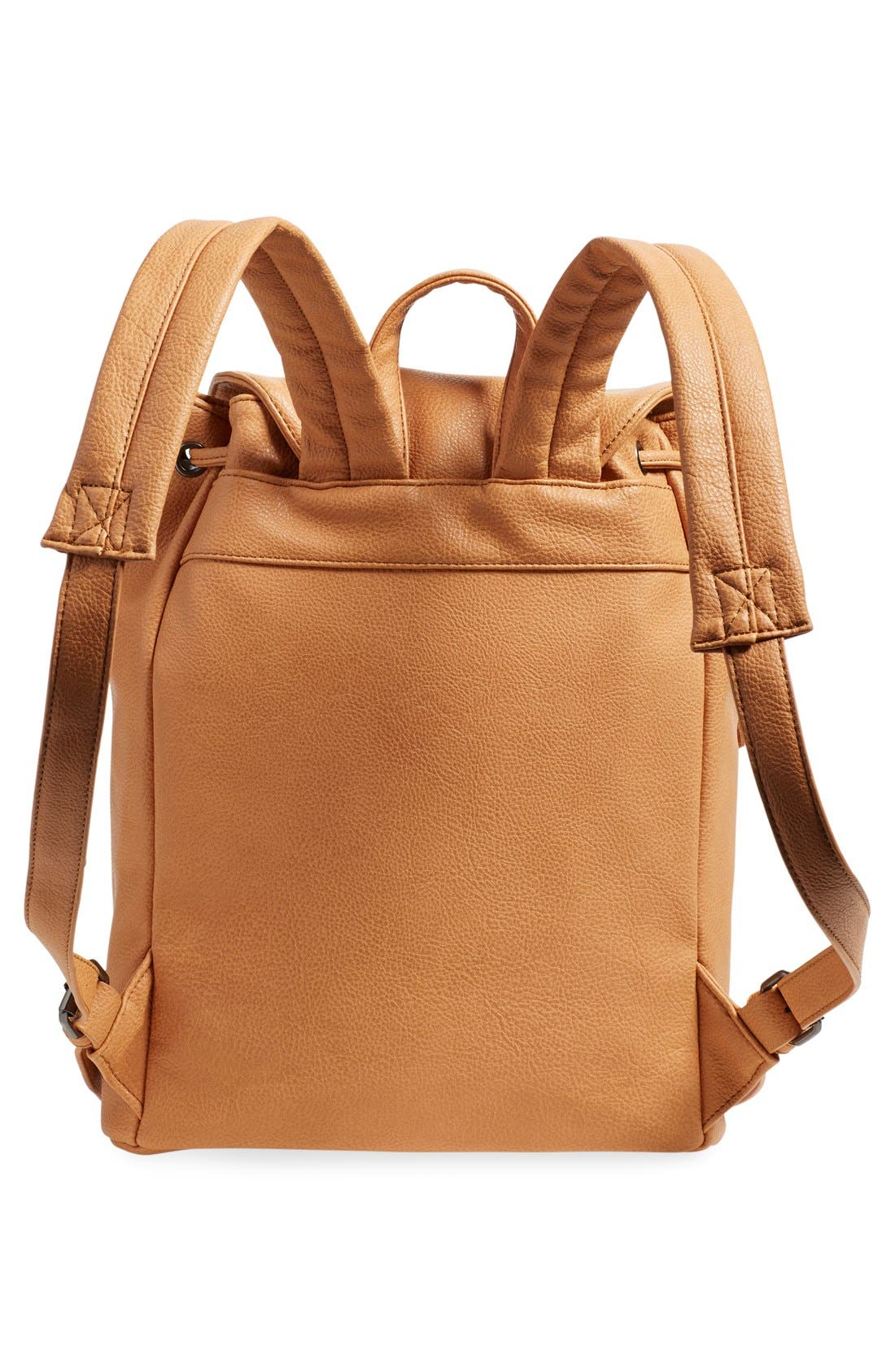 'Hartley' Faux Leather Backpack,                             Alternate thumbnail 3, color,                             Camel