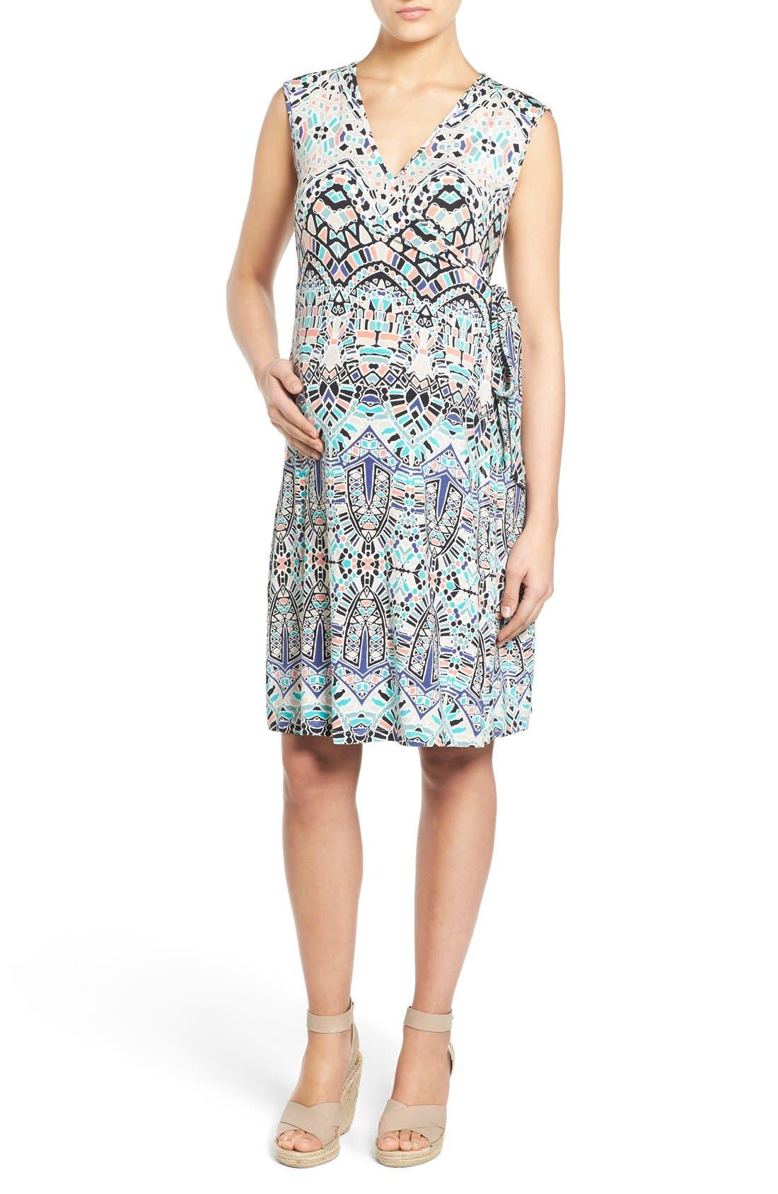 'Charmaine' Print Jersey Maternity Wrap Dress,                         Main,                         color, Ink Tiles