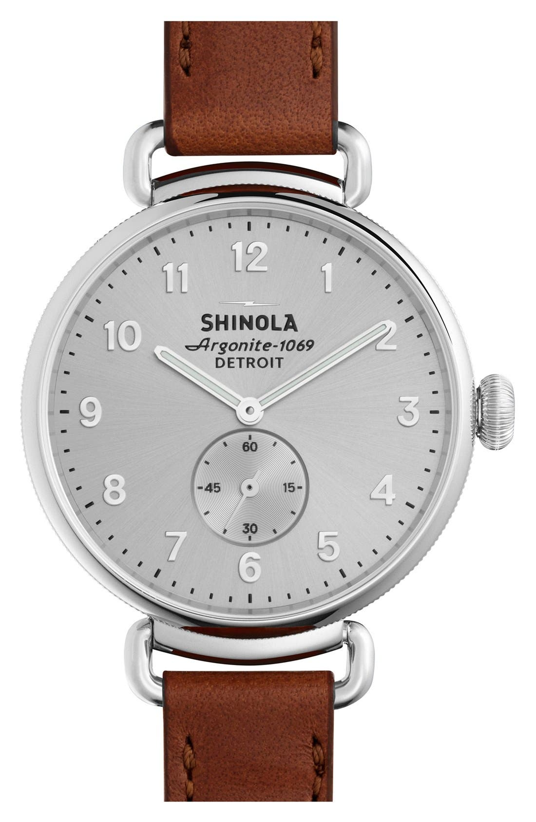 The Canfield Leather Strap Watch, 38mm,                         Main,                         color, Dark Cognac/ Silver