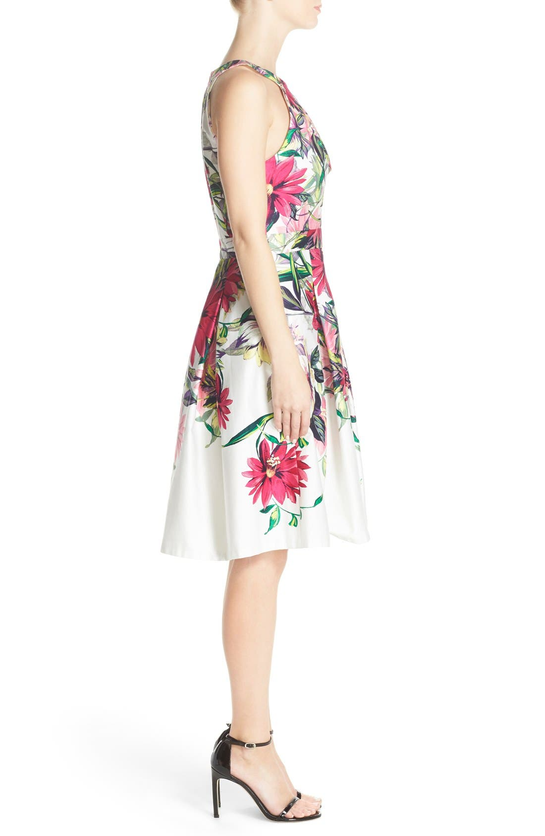 Floral Print Tea Length Fit & Flare Dress,                             Alternate thumbnail 3, color,                             Ivory/ Pink Print