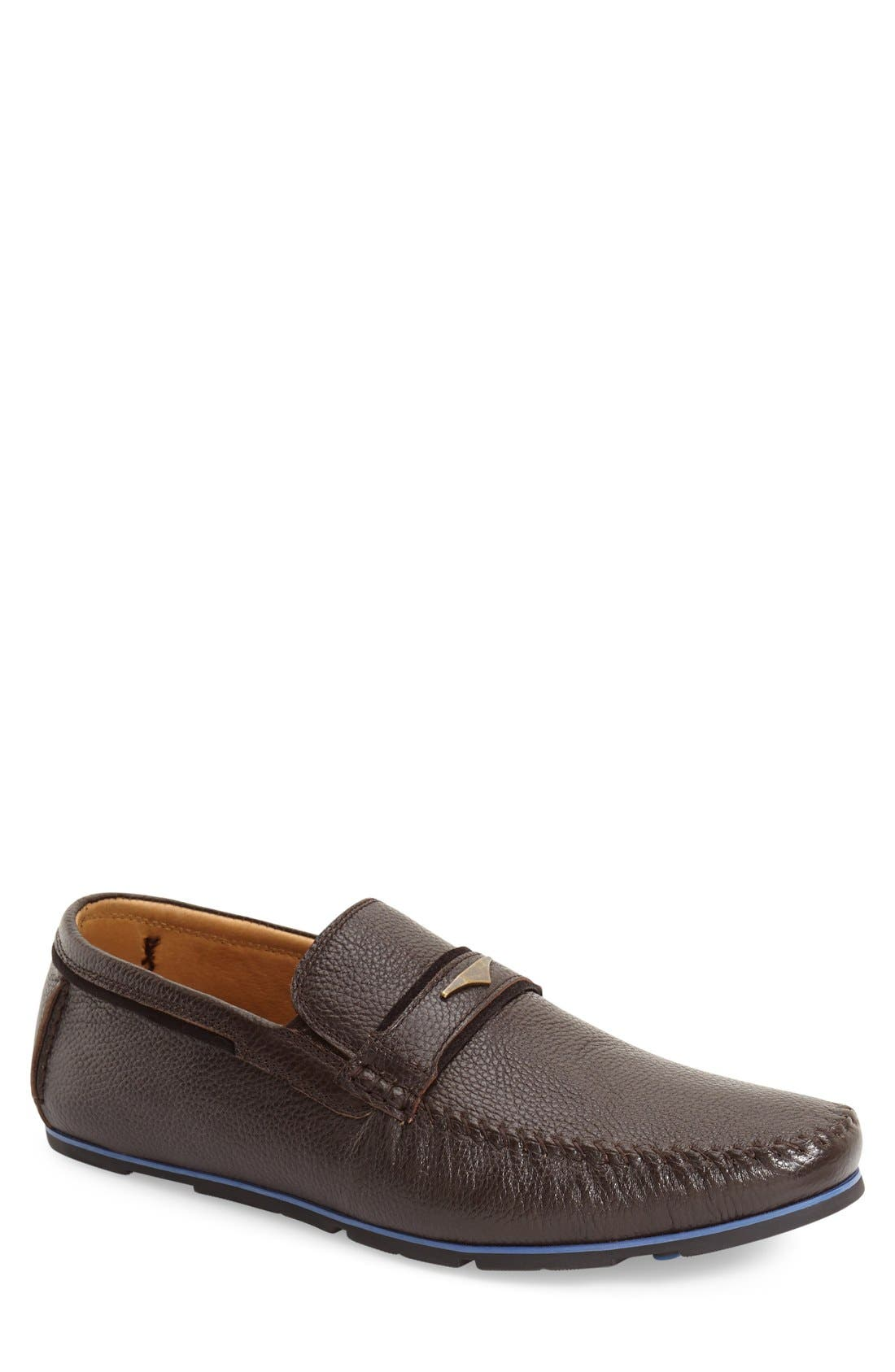 Leather Loafer,                             Main thumbnail 1, color,                             Brown Leather