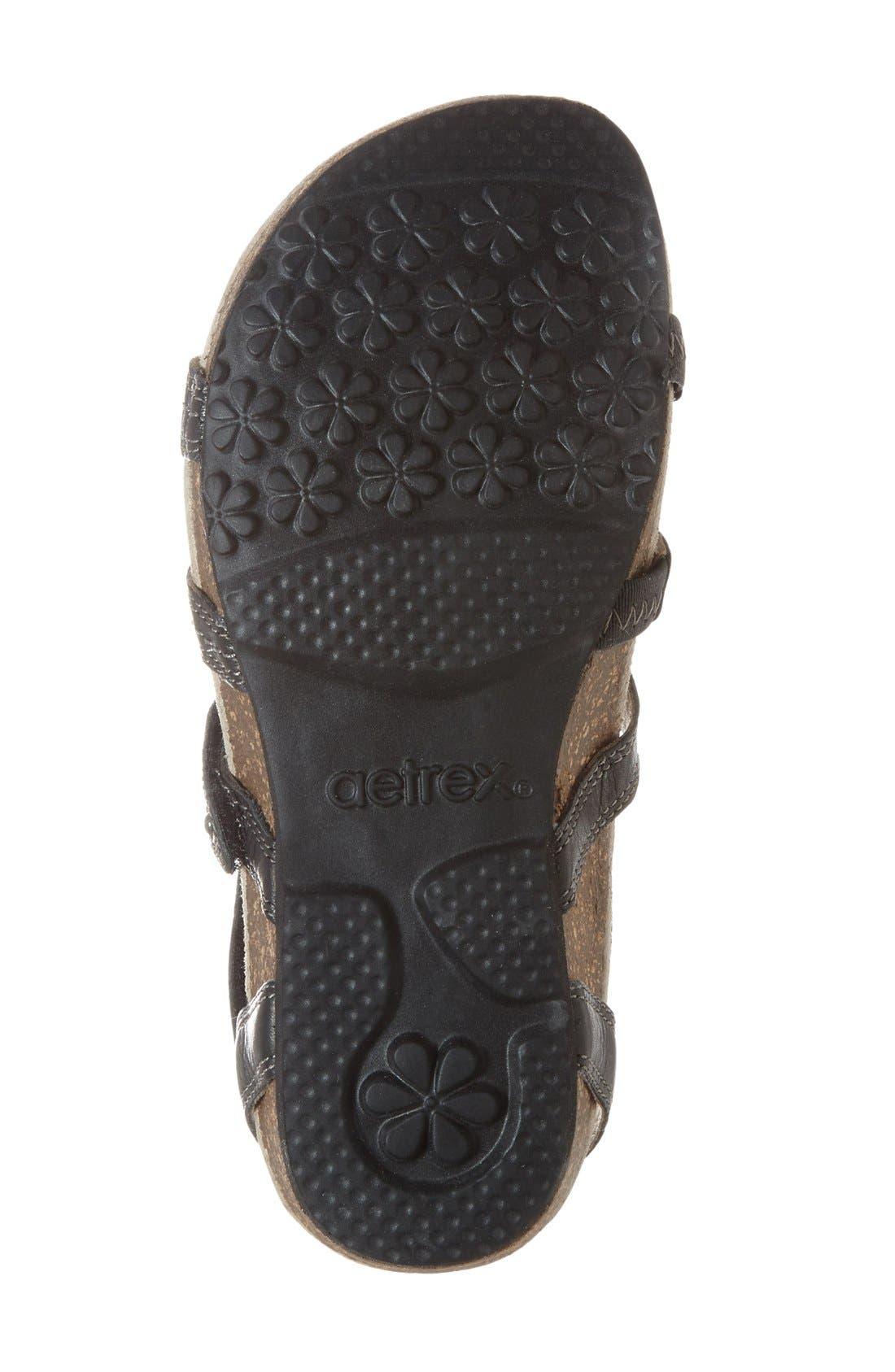 'Natasha' Gladiator Sandal,                             Alternate thumbnail 4, color,                             Black Leather