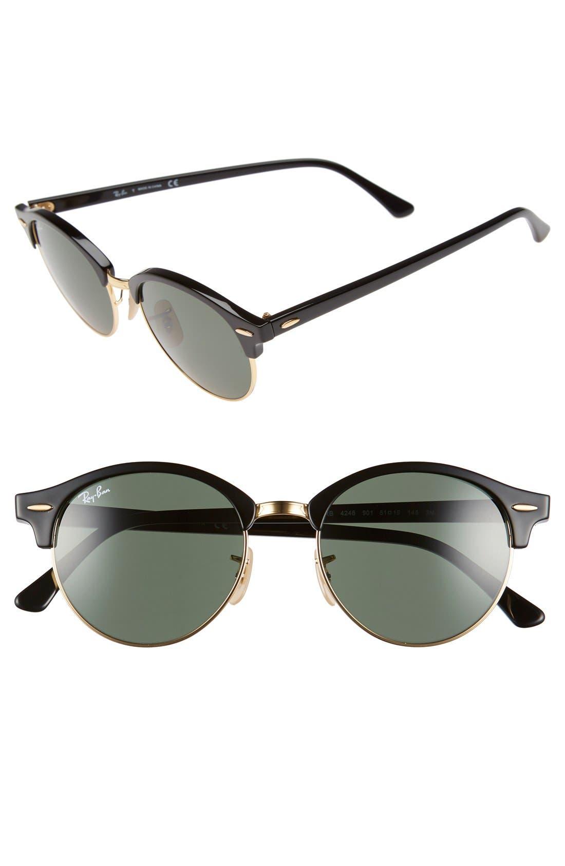 Clubround 51mm Round Sunglasses,                         Main,                         color, Black