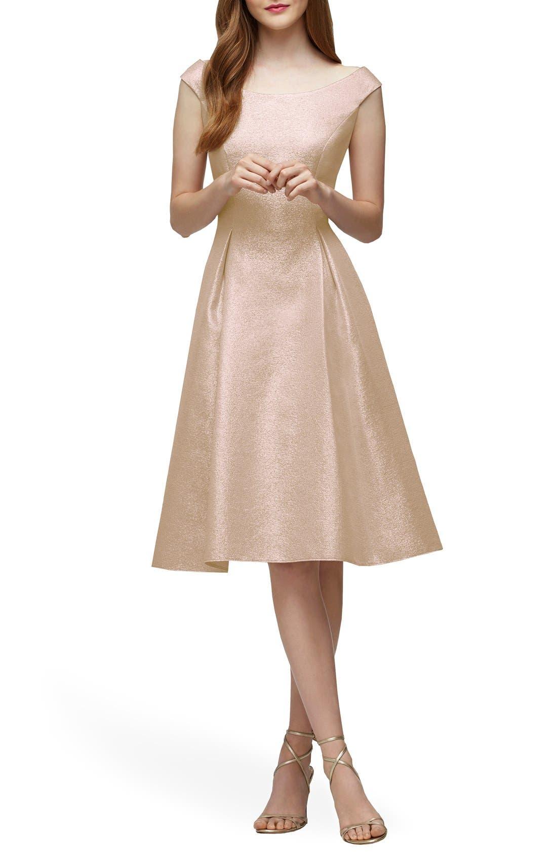 Main Image - Lela Rose Bridesmaid Portrait Neck Metallic Fit & Flare Dress