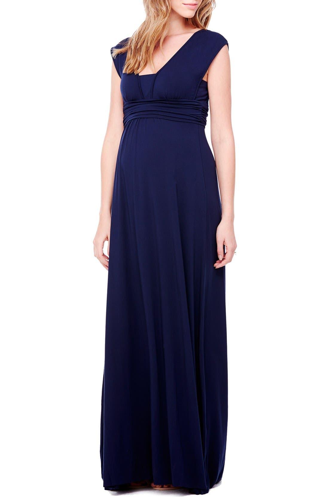 Empire Waist Maternity Maxi Dress,                         Main,                         color, True Navy