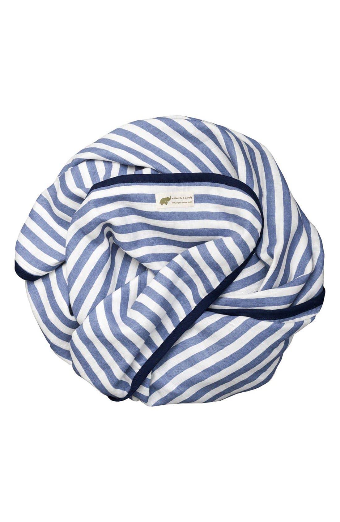 Organic Cotton Muslin Blanket,                         Main,                         color, Blue Stripe
