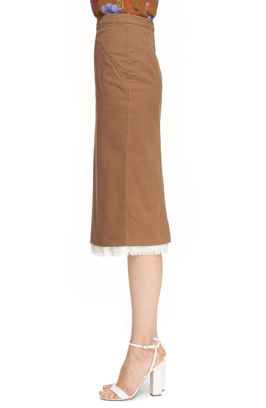 Alternate Image 3  - Nº21 'Lison' Frayed Hem Khaki Pencil Skirt