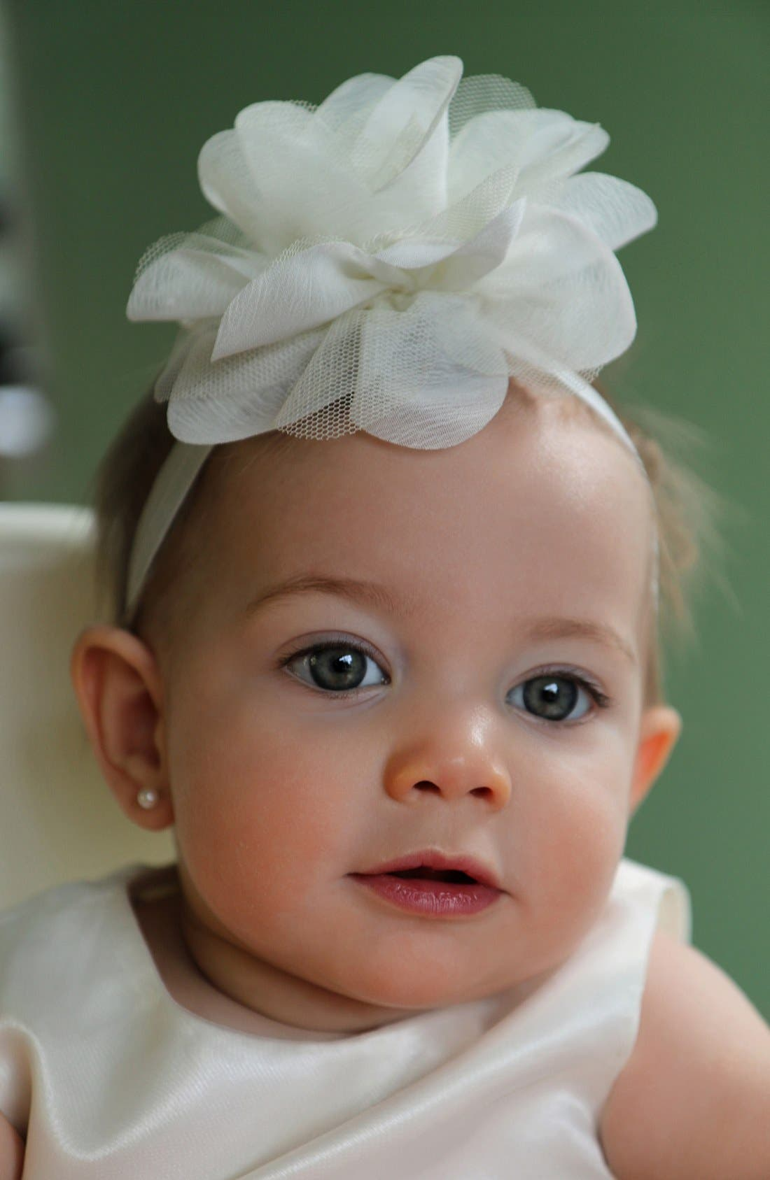 Alternate Image 4  - PLH Bows & Laces Chiffon & Tulle Flower Head Wrap (Baby Girls)