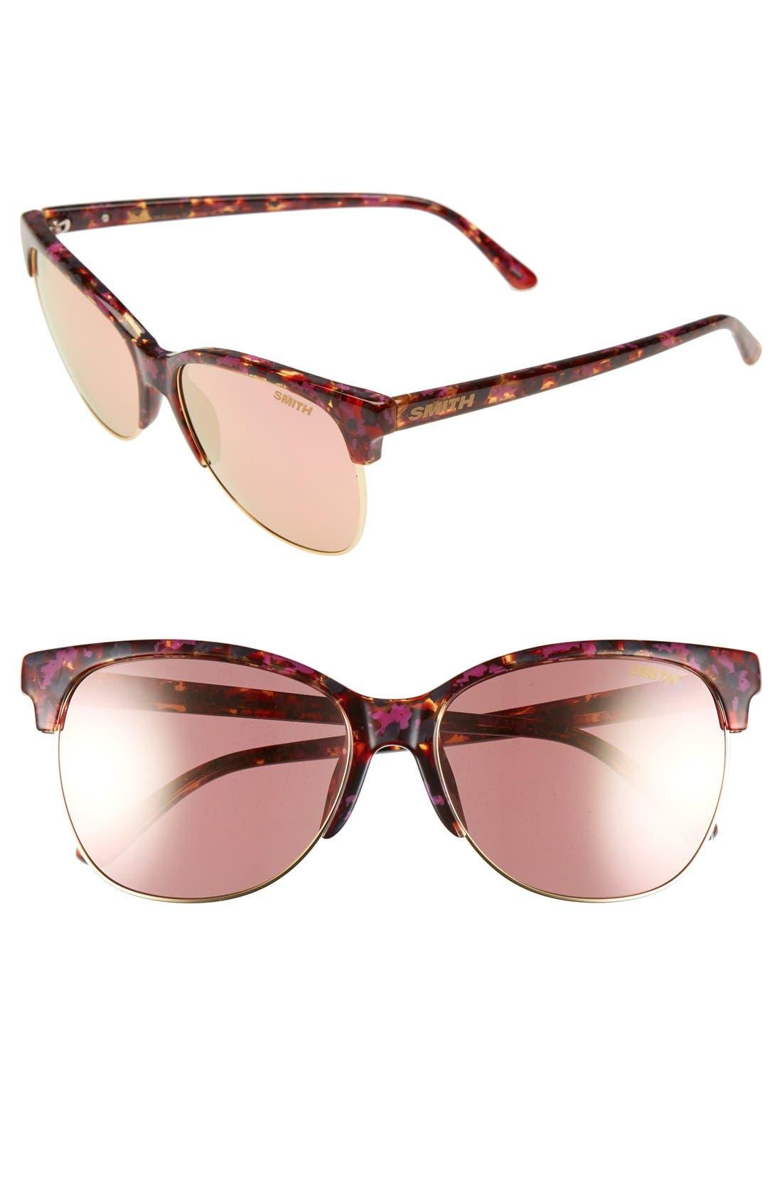 'Rebel' 57mm Cat EyeSunglasses,                         Main,                         color, Flecked Tortoise/ Rose Gold