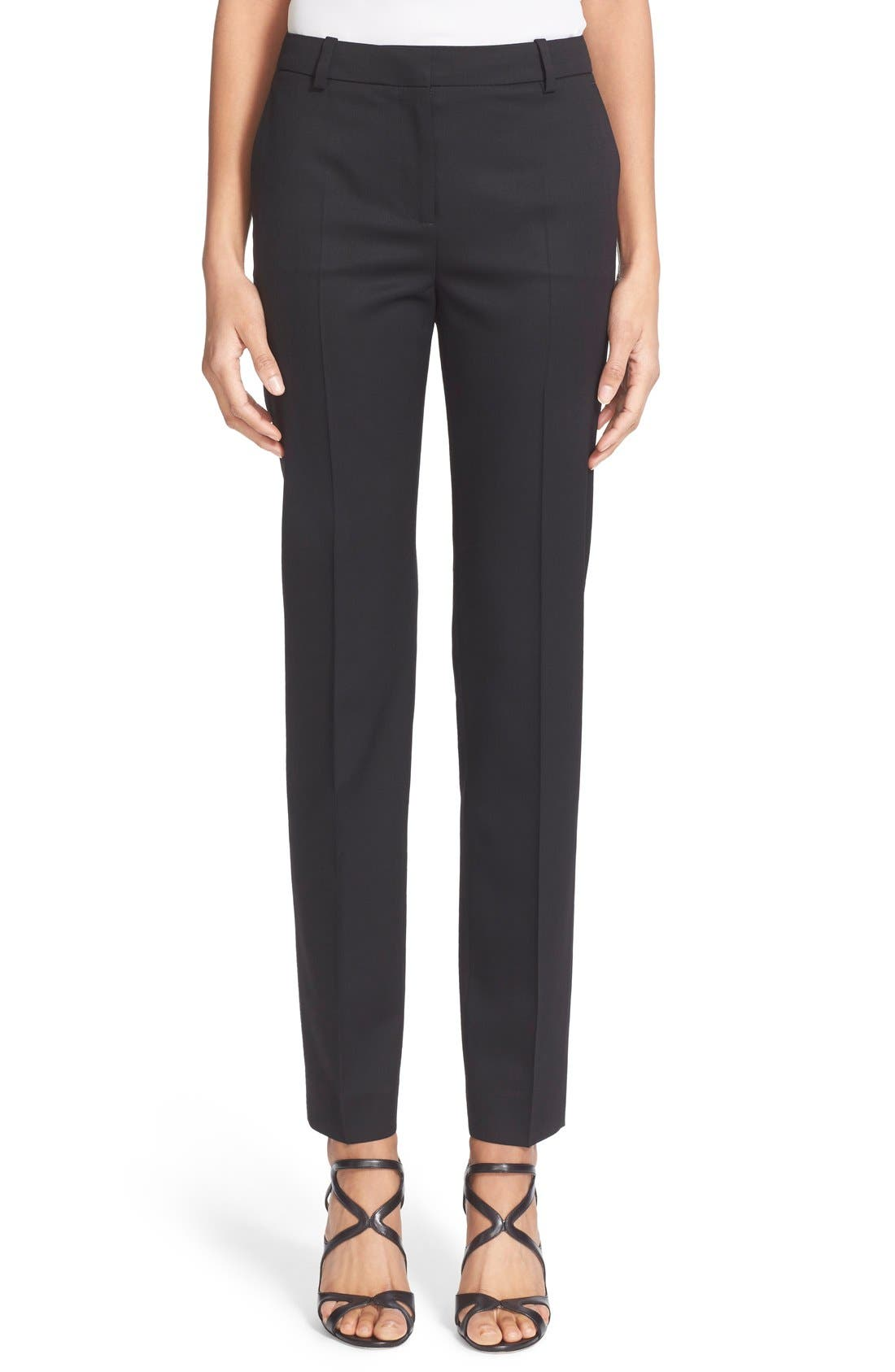 'Timeless' Stretch Wool Trousers,                             Main thumbnail 1, color,                             Black
