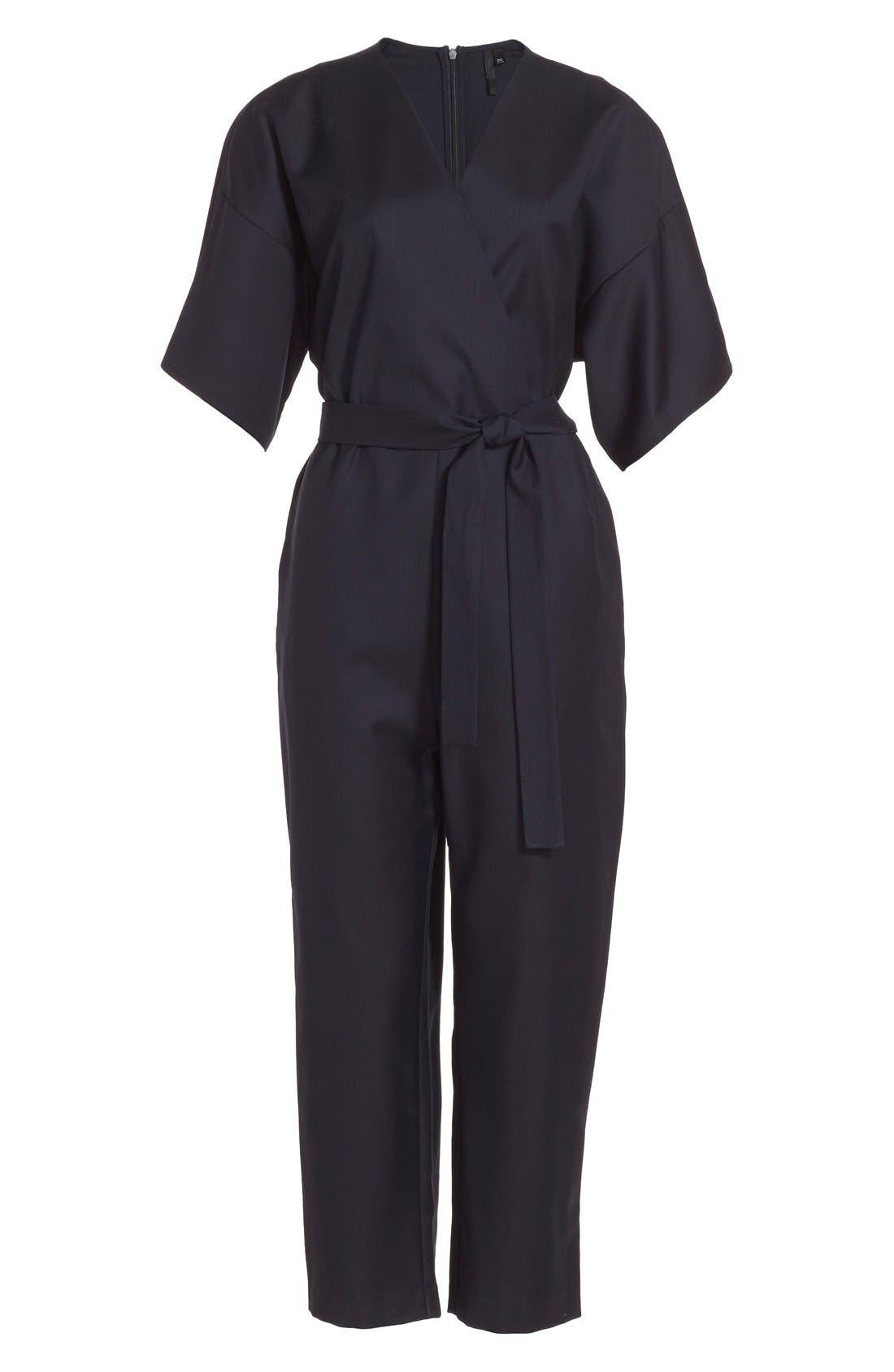 Alternate Image 3  - Topshop Boutique Wool Kimono Wrap Jumpsuit