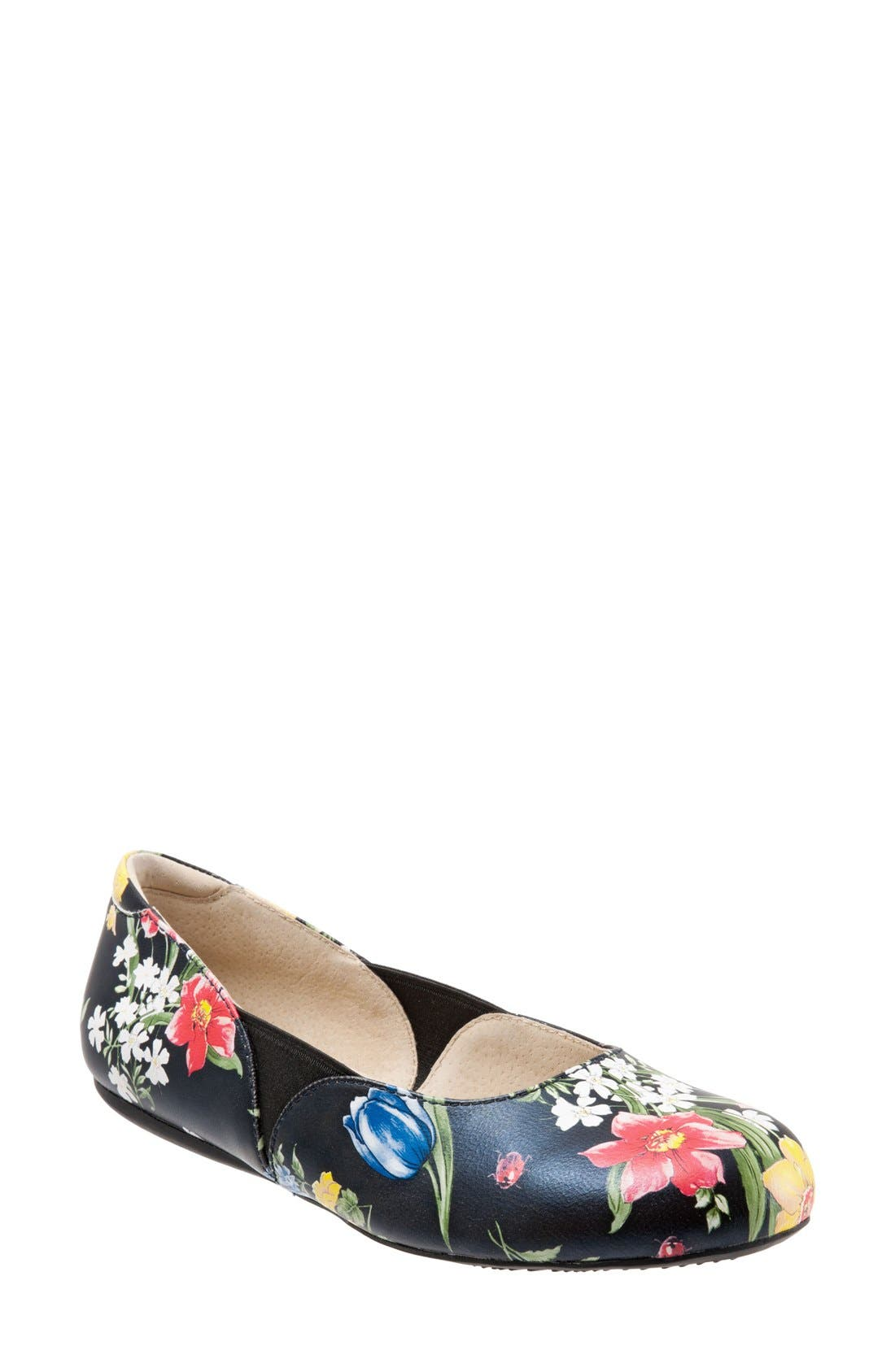 'Norwich' Flat,                         Main,                         color, Midnight Floral Leather
