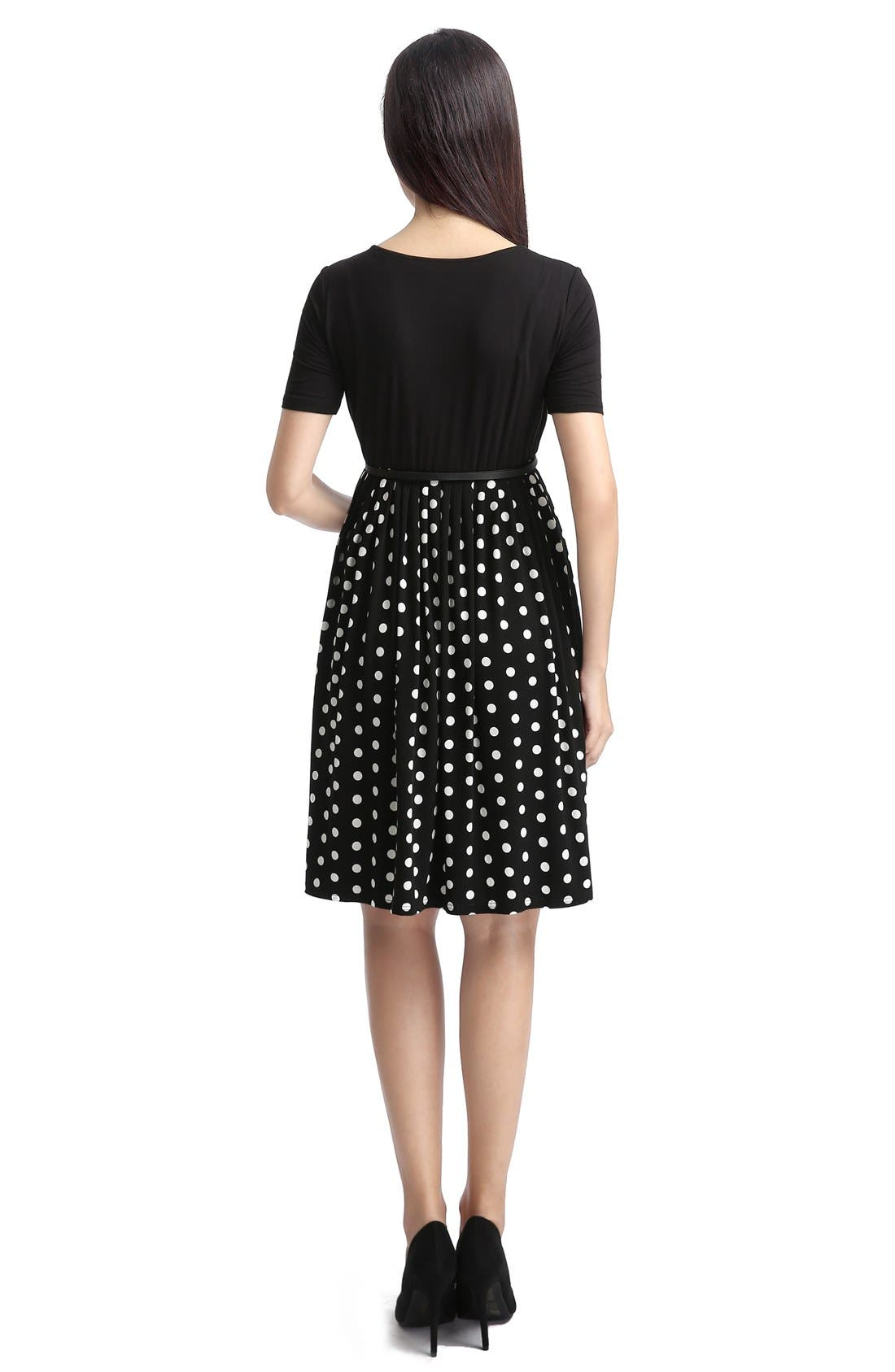 'Emmy' Polka Dot Maternity Dress,                             Alternate thumbnail 2, color,                             Black