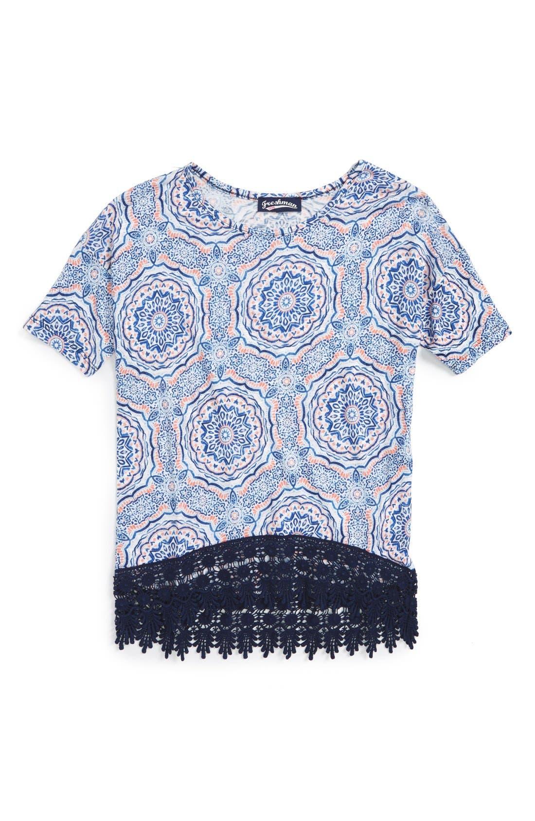 Print Crochet Trim Tee,                         Main,                         color, Coral