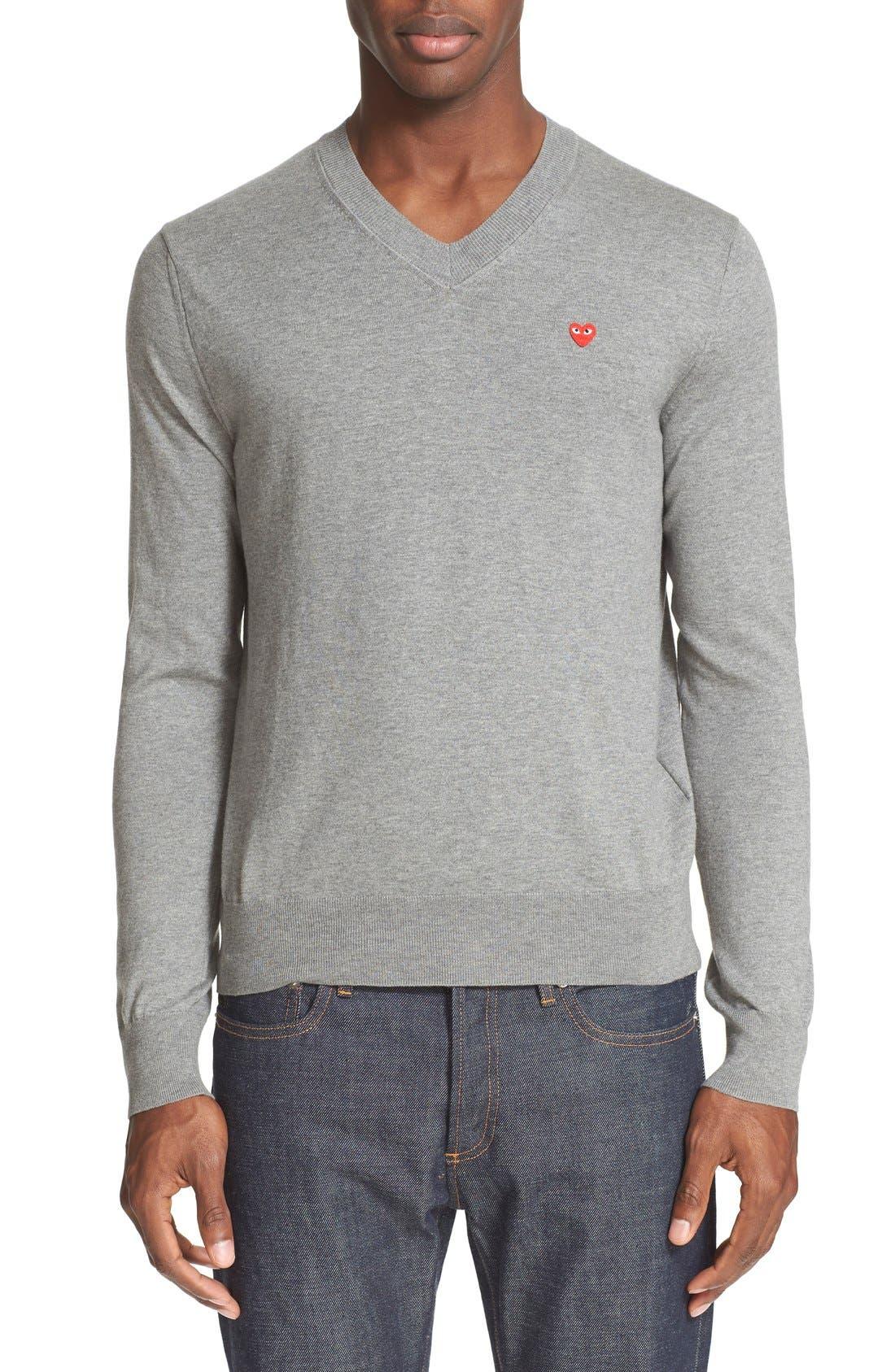 Comme des Garçons PLAY V-Neck Cotton Pullover,                             Main thumbnail 1, color,                             Grey