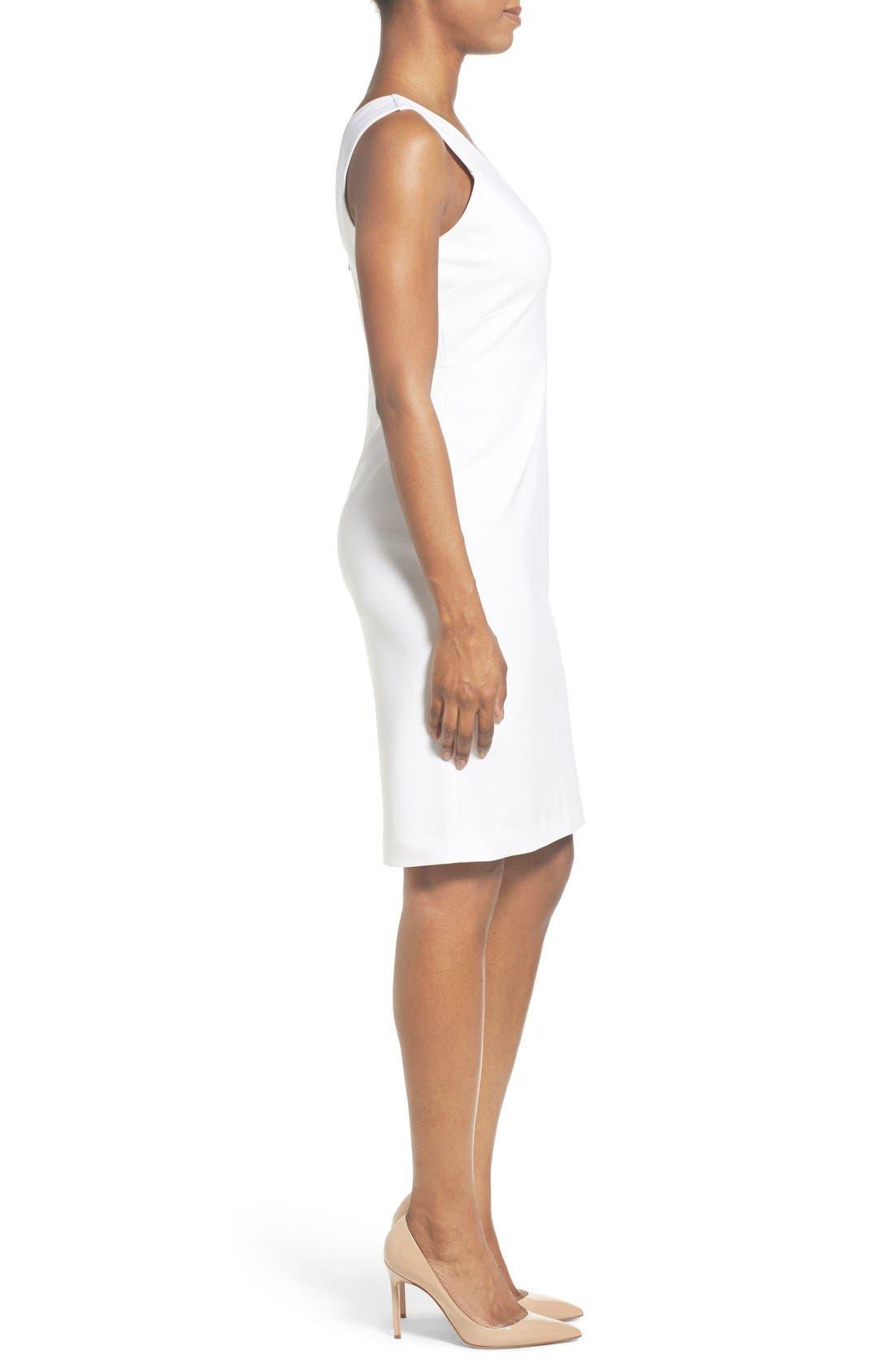 Alternate Image 3  - Classiques Entier® Italian Ponte Double V-Neck Sheath Dress (Regular & Petite)
