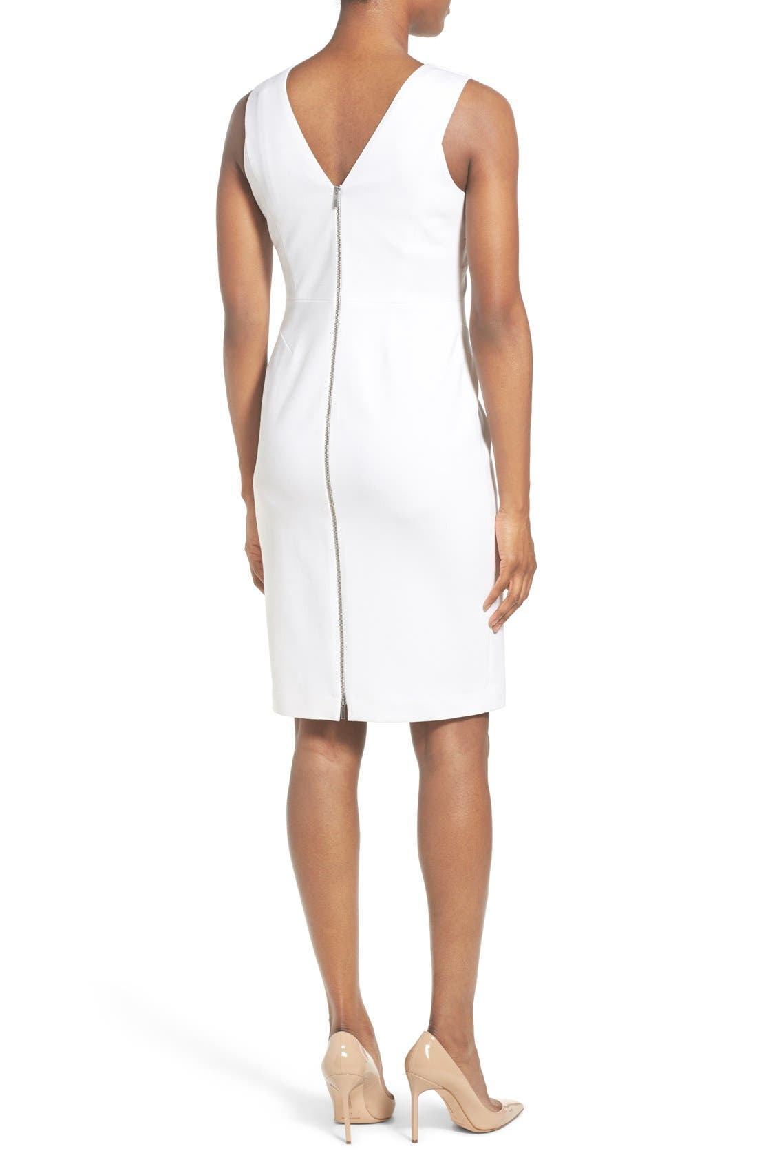 Alternate Image 2  - Classiques Entier® Italian Ponte Double V-Neck Sheath Dress (Regular & Petite)