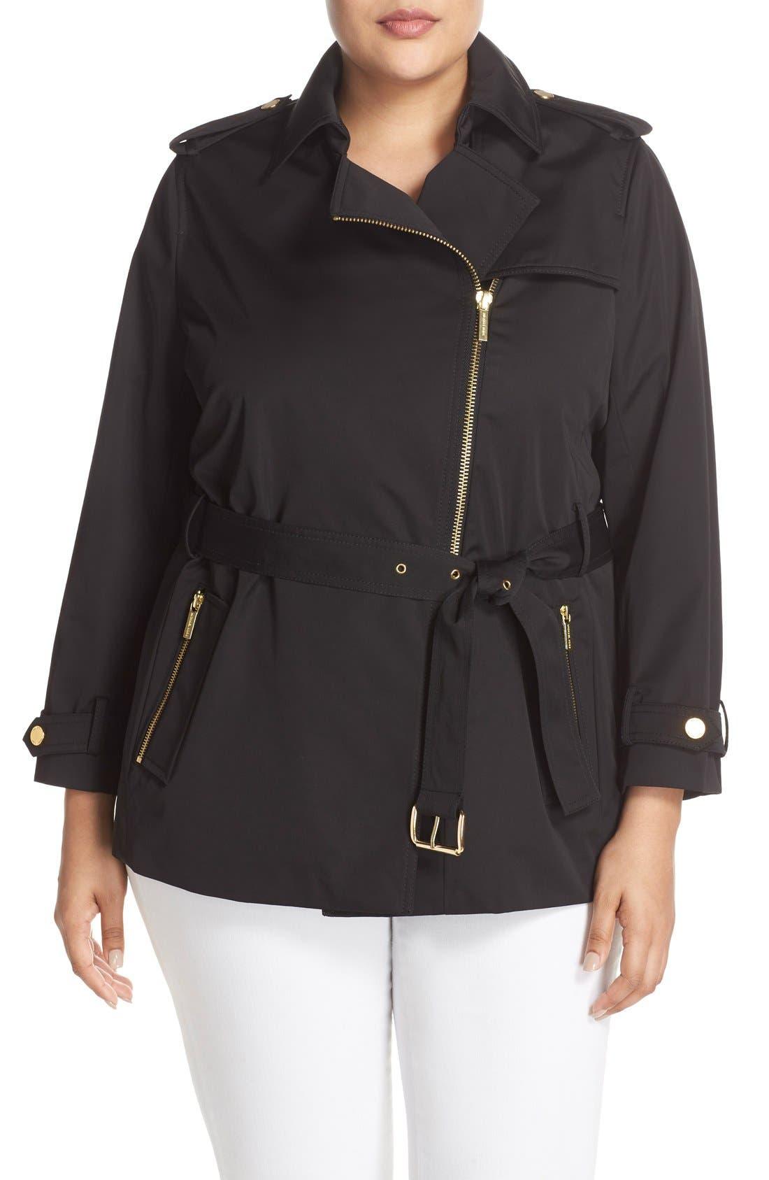 Short Zip Trench Coat,                             Alternate thumbnail 4, color,                             Black